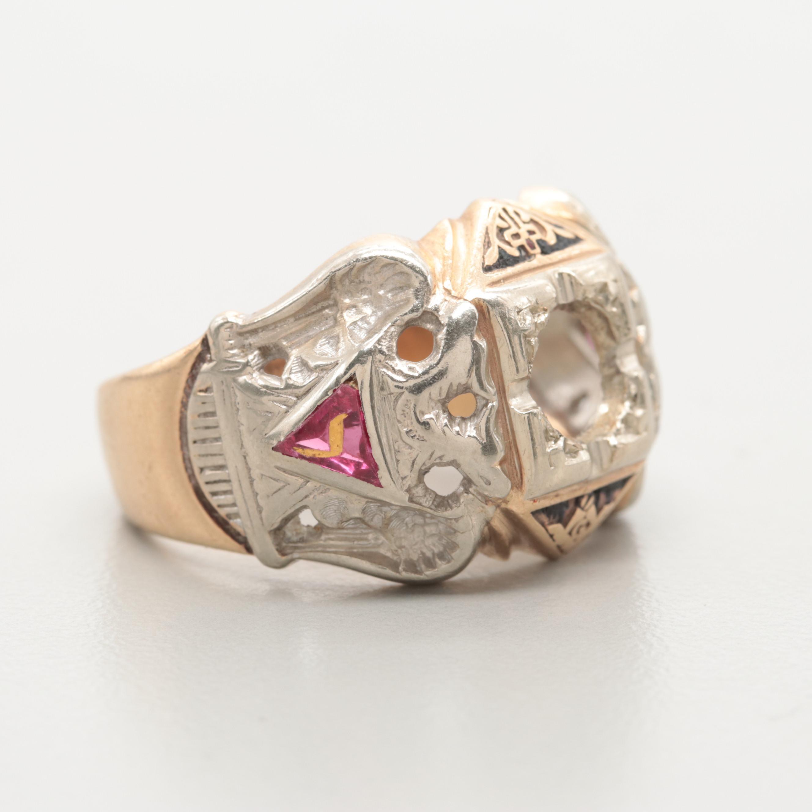 10K Yellow Gold Masonic Synthetic Ruby Semi-Mount Ring