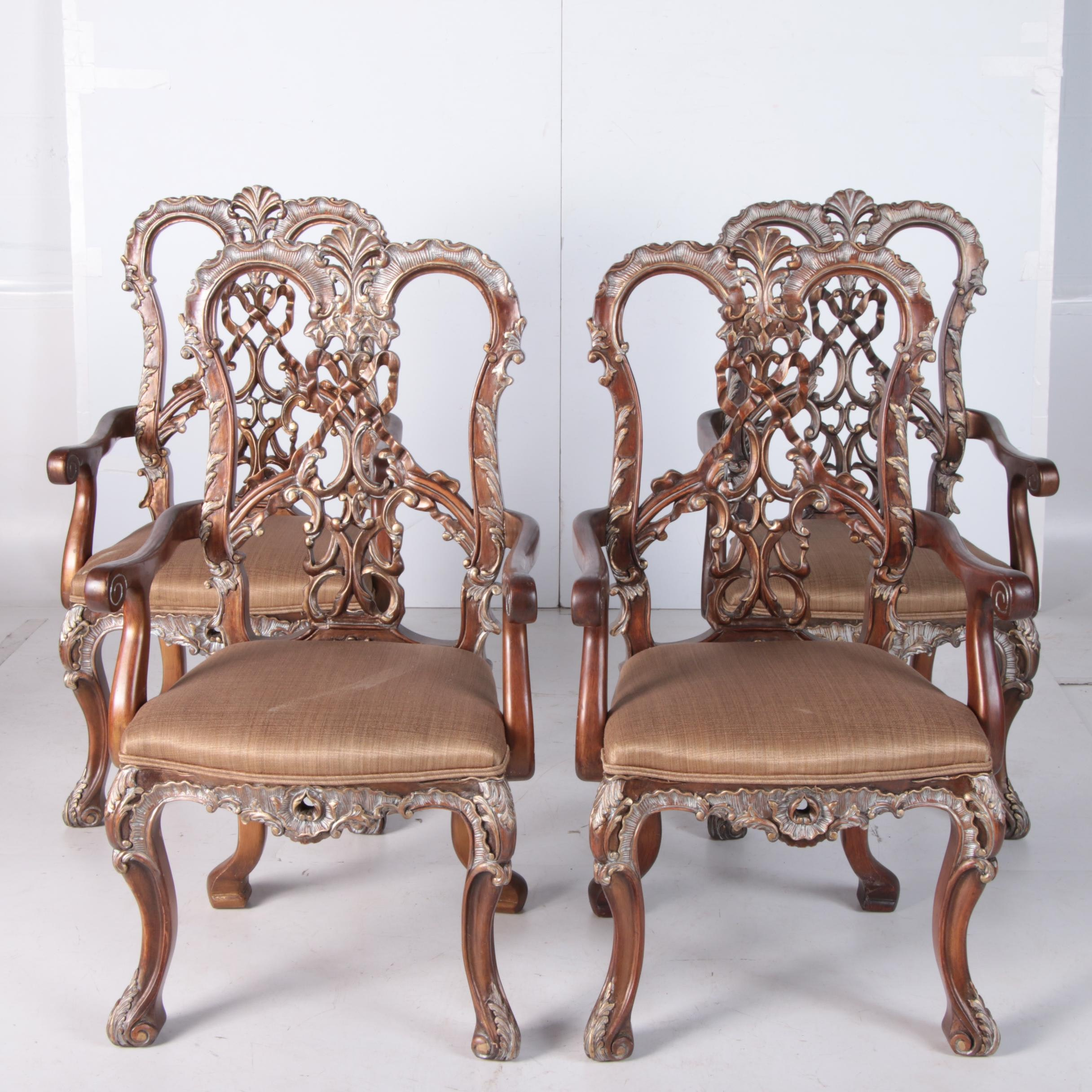Rococo Style Painted Wooden Armchairs, 20th Century