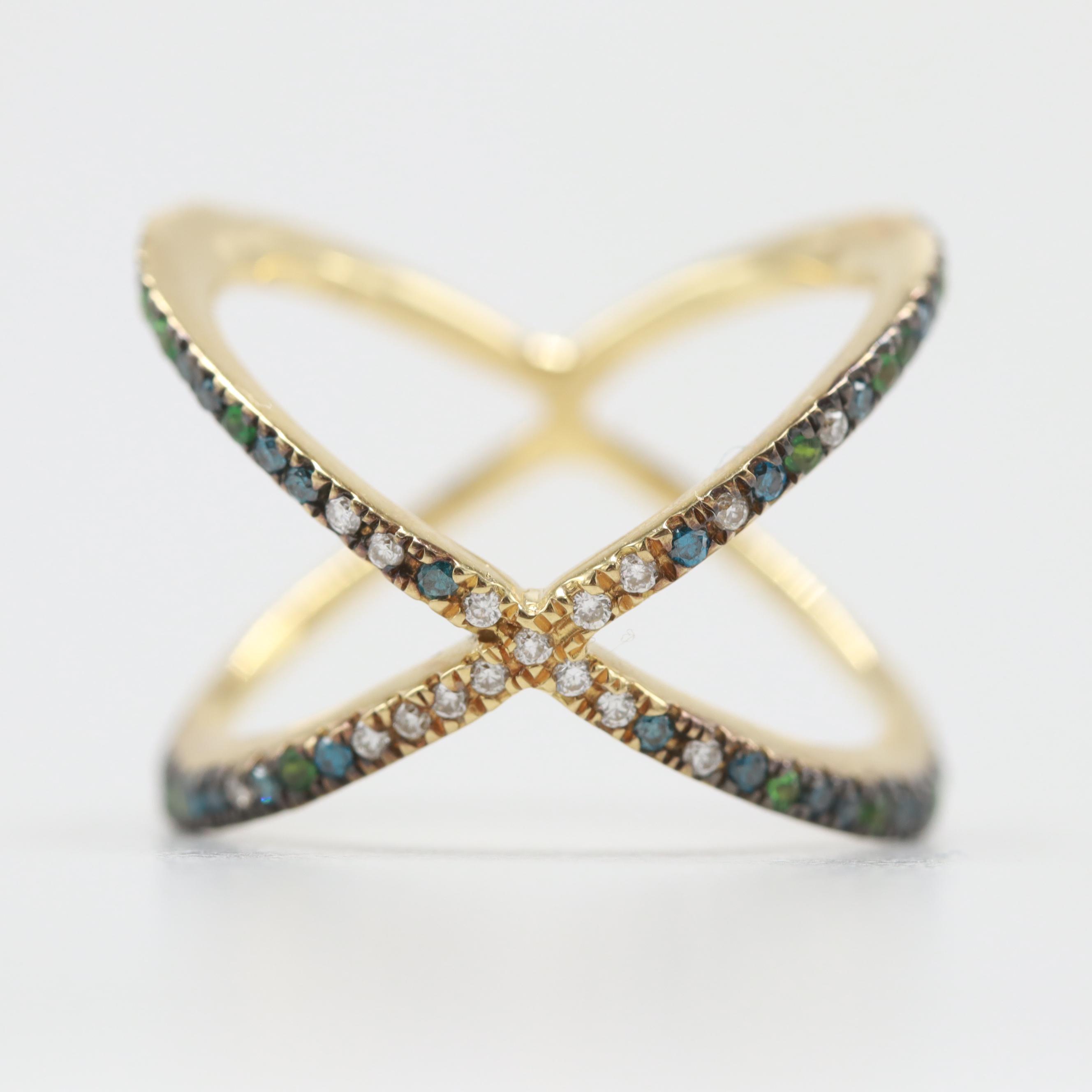 18K Yellow Gold Tsavorite Garnet and Diamond Ring