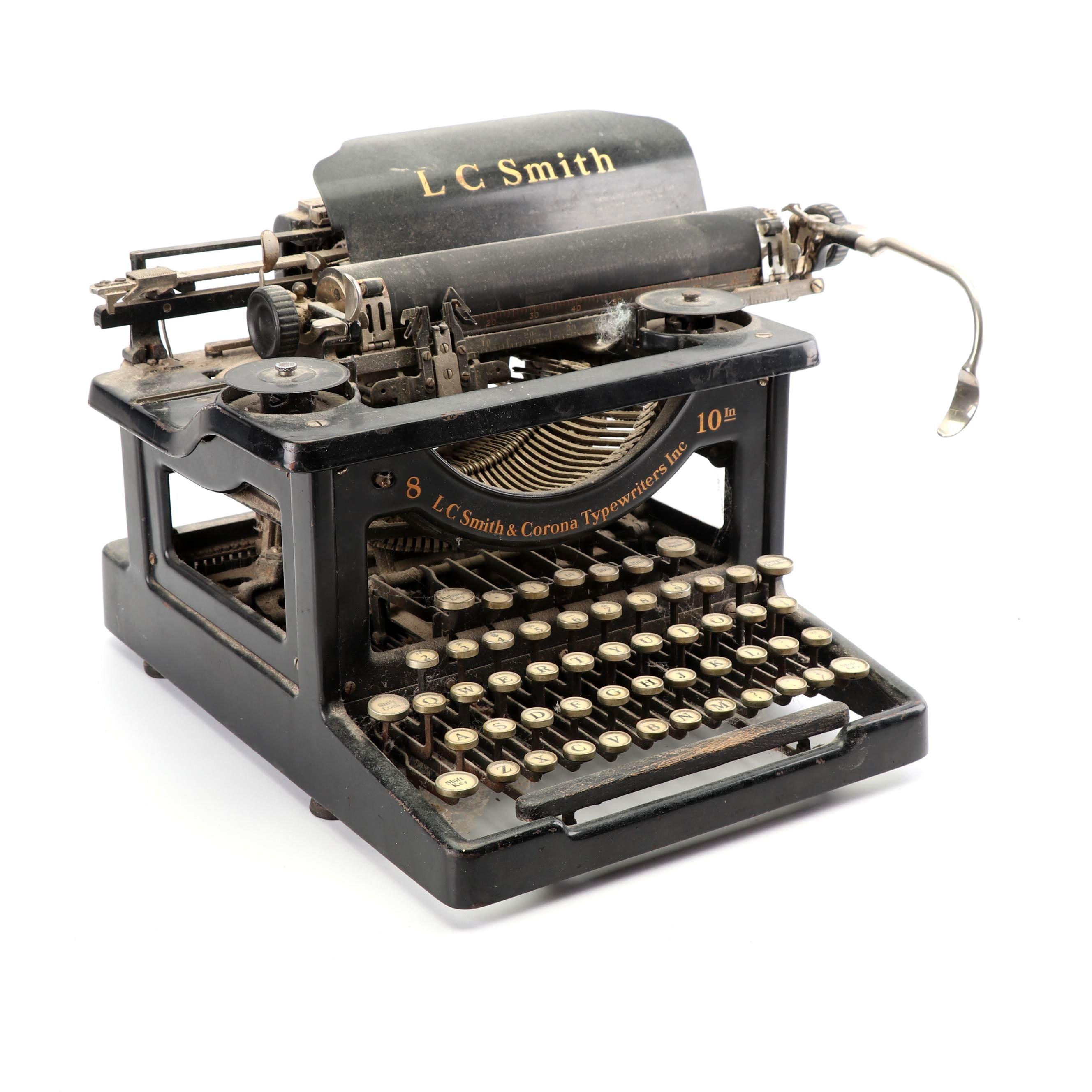 L.C. Smith & Corona Inc. No. 8 Typewriter, Circa 1920s
