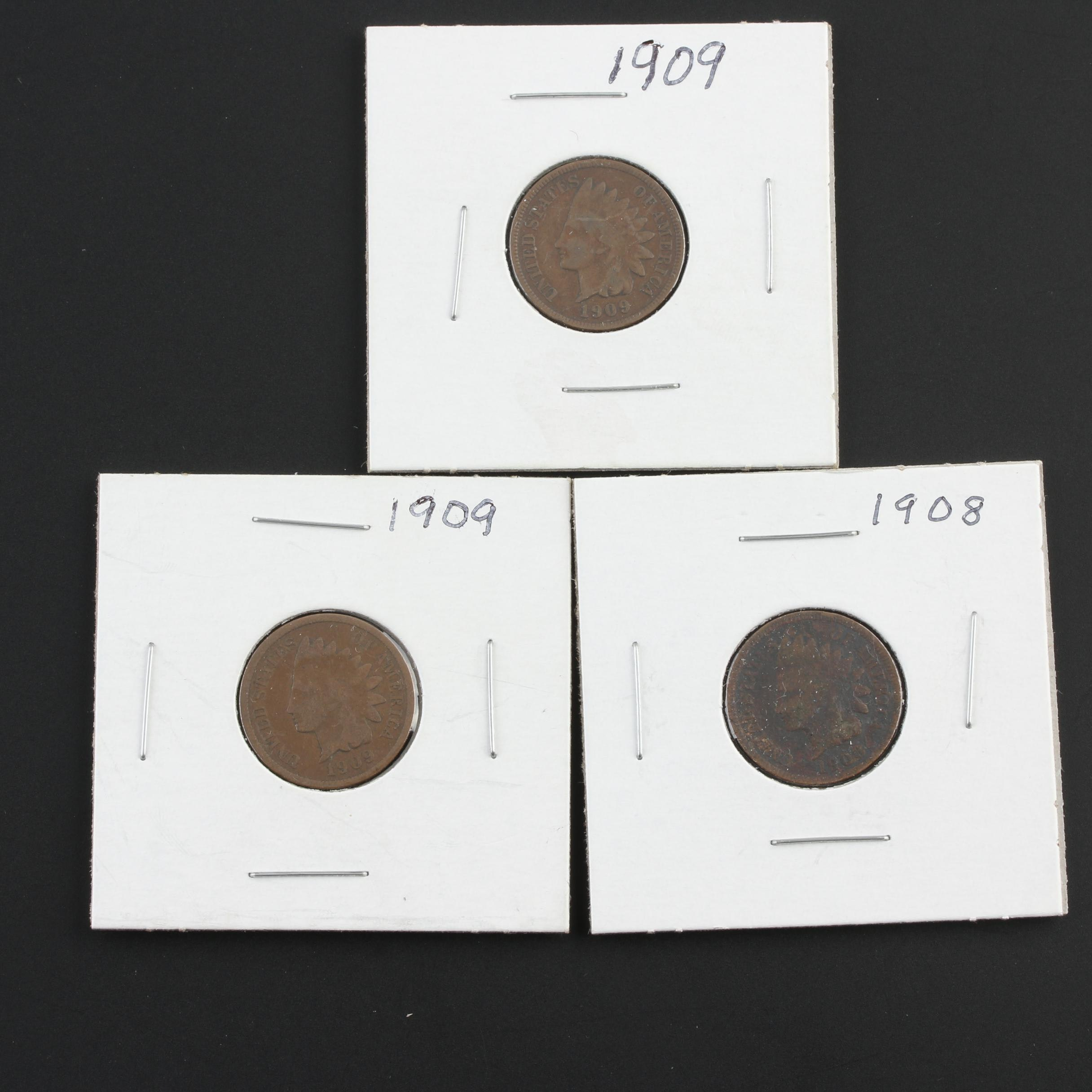 Group of Three Indian Head Cents: 1908 and Two 1909