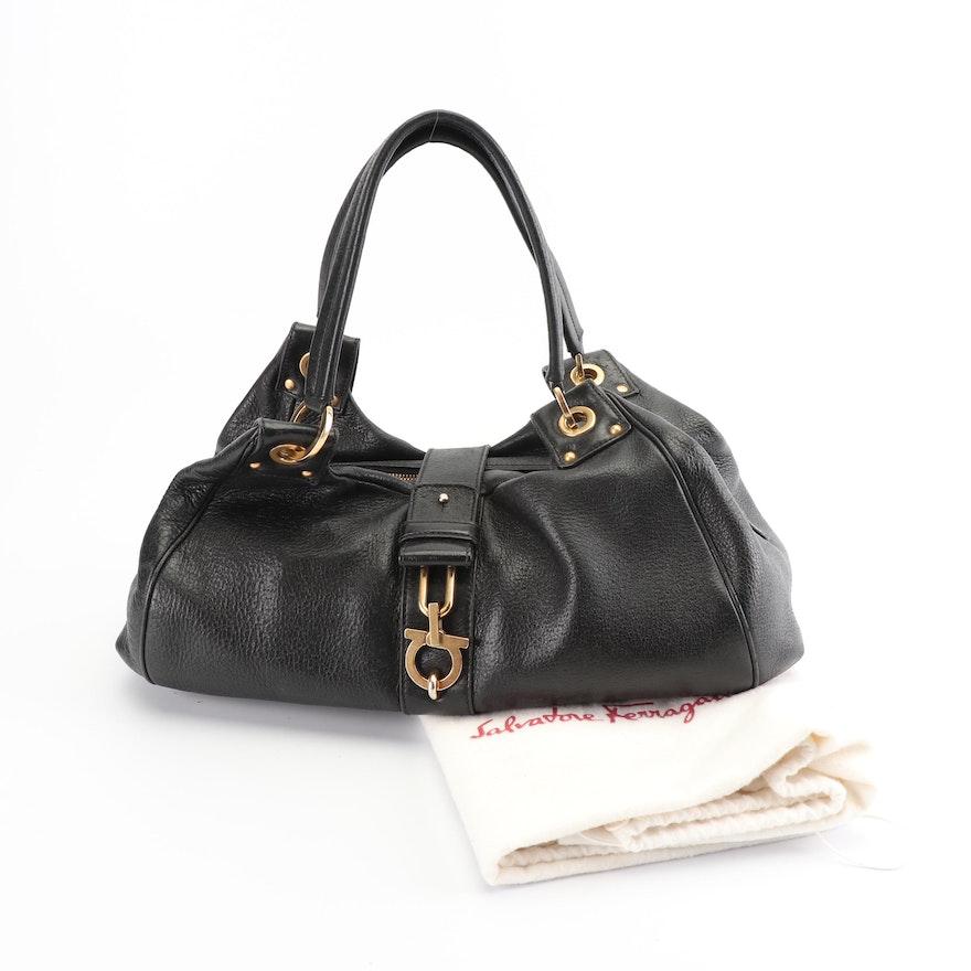 Salvatore Ferragamo Black Pebbled Leather Handbag   EBTH 6b8620975051b