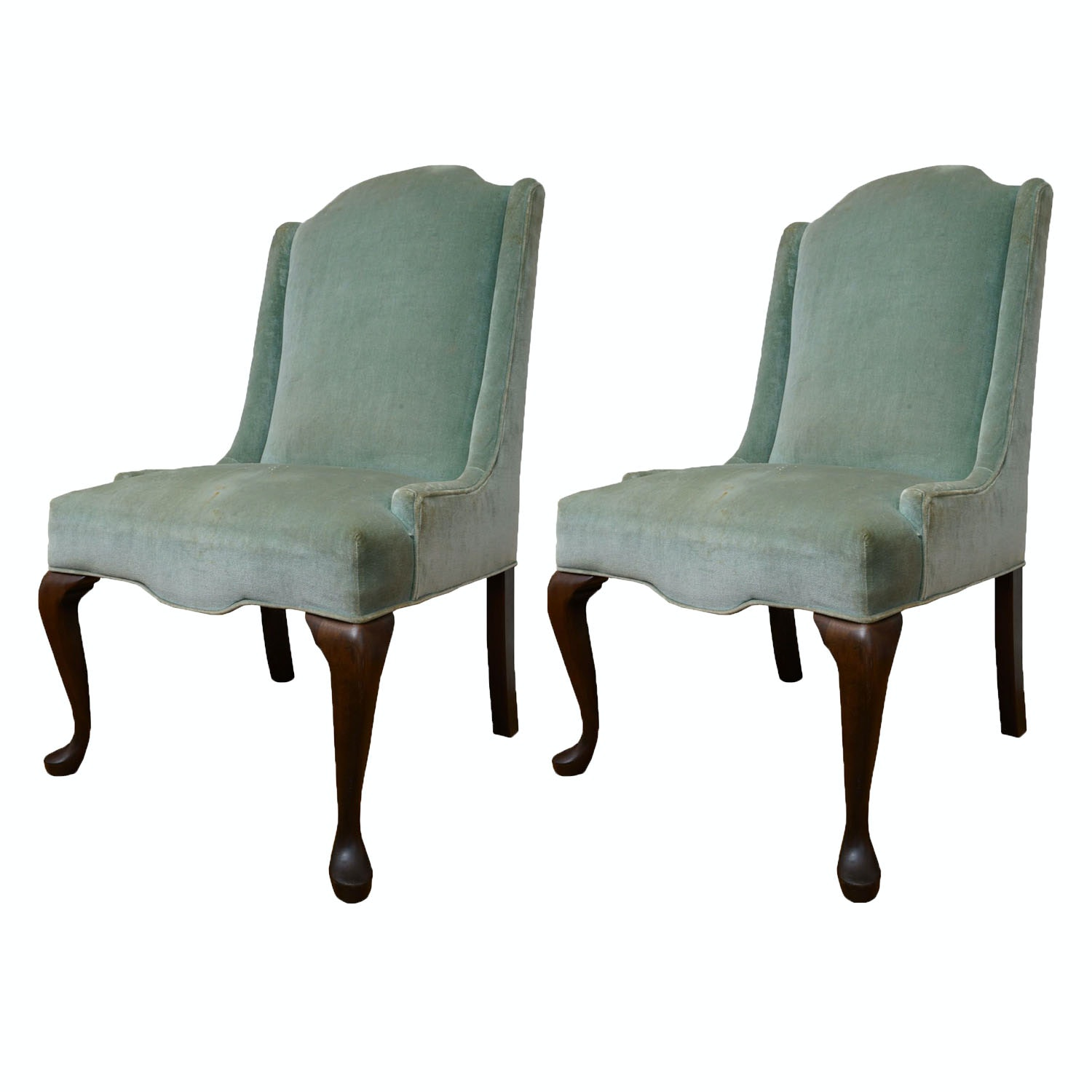 Pair of Queen Anne Style Upholstered Side Chairs, Late 20th Century