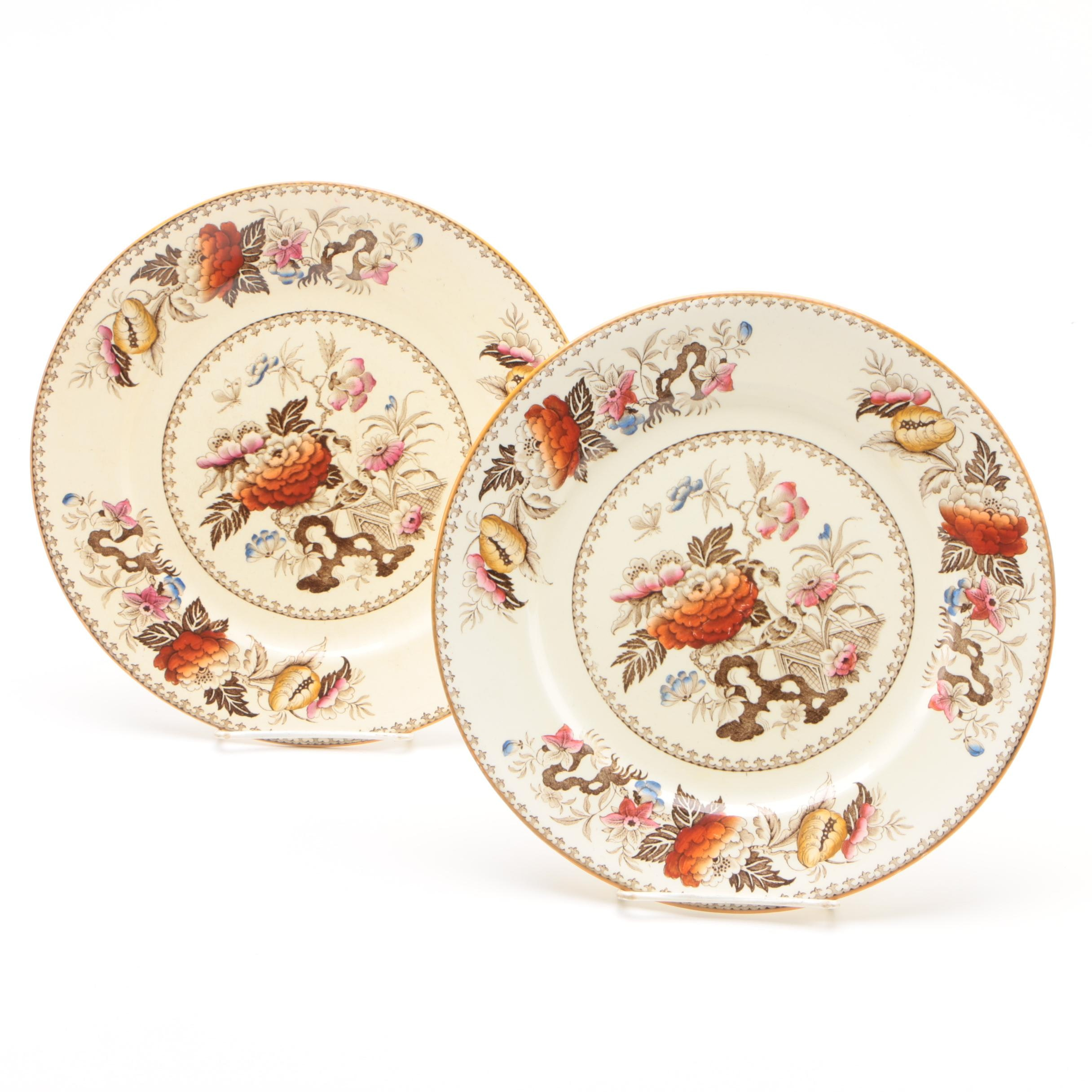 "Wedgwood ""Bullfinch"" Transfer-Printed Dinner Plates"