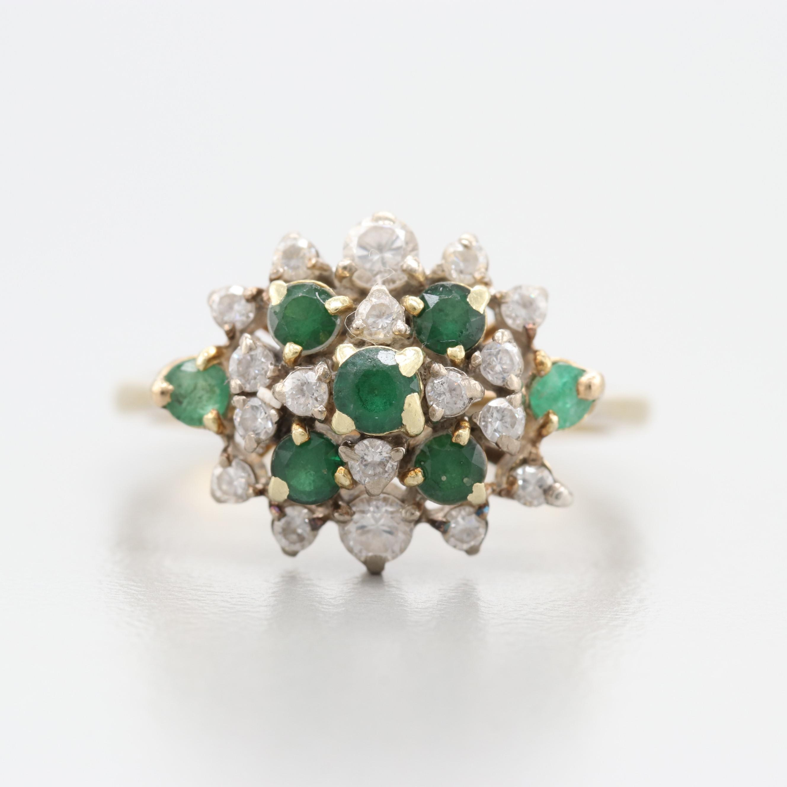 14K Yellow Gold Green Spinel, Emerald and Glass Ring