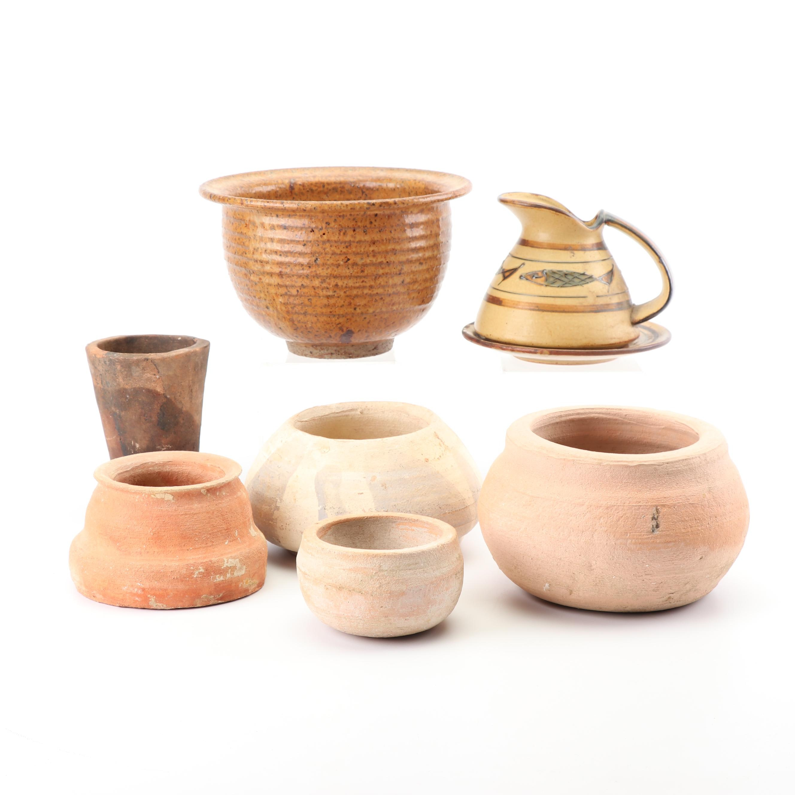 Terracotta and Stoneware Planters with Ceramic Pitcher
