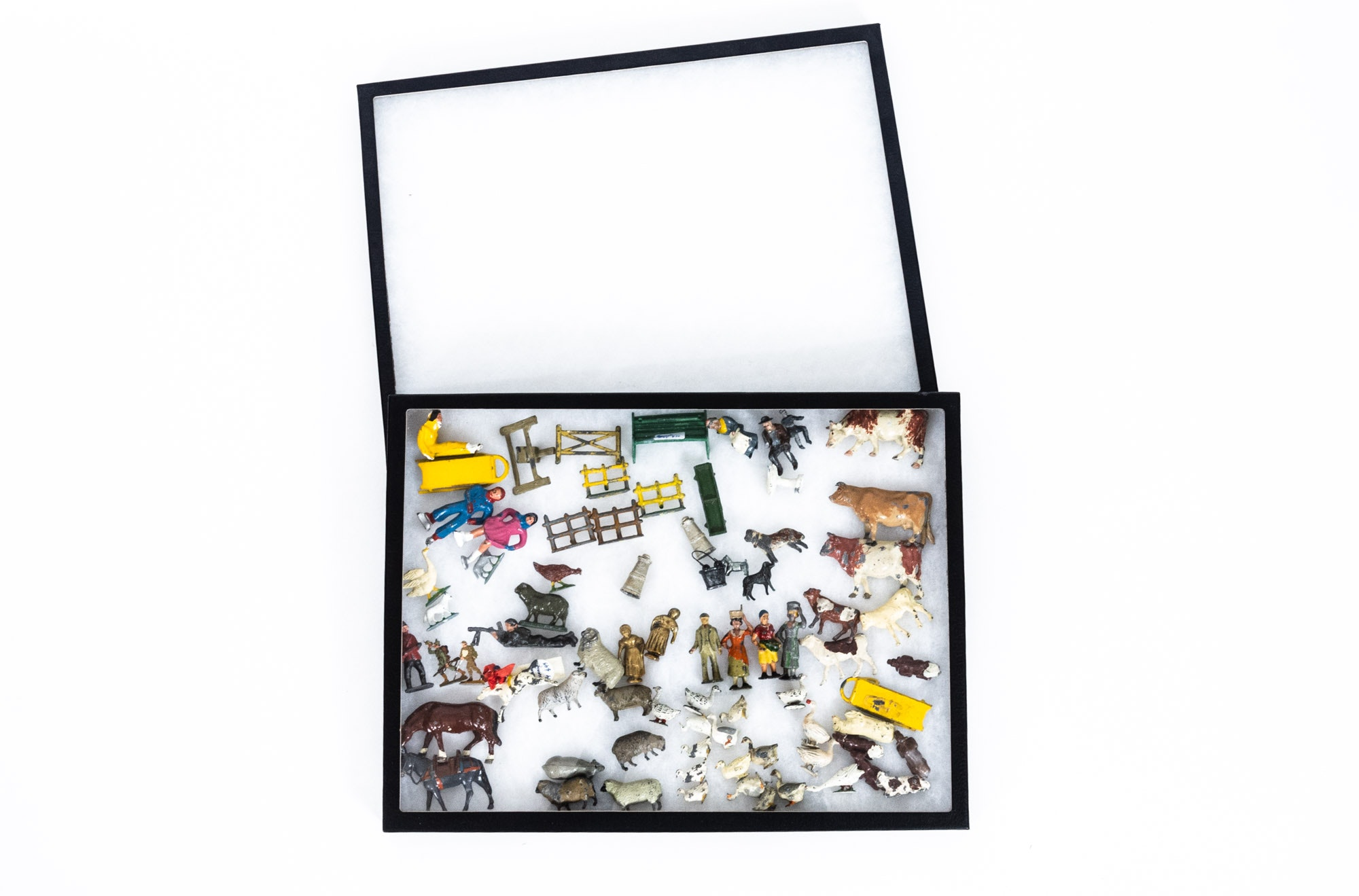 Vintage Die Cast and Metal Toy Figurines with Glass Display Cases