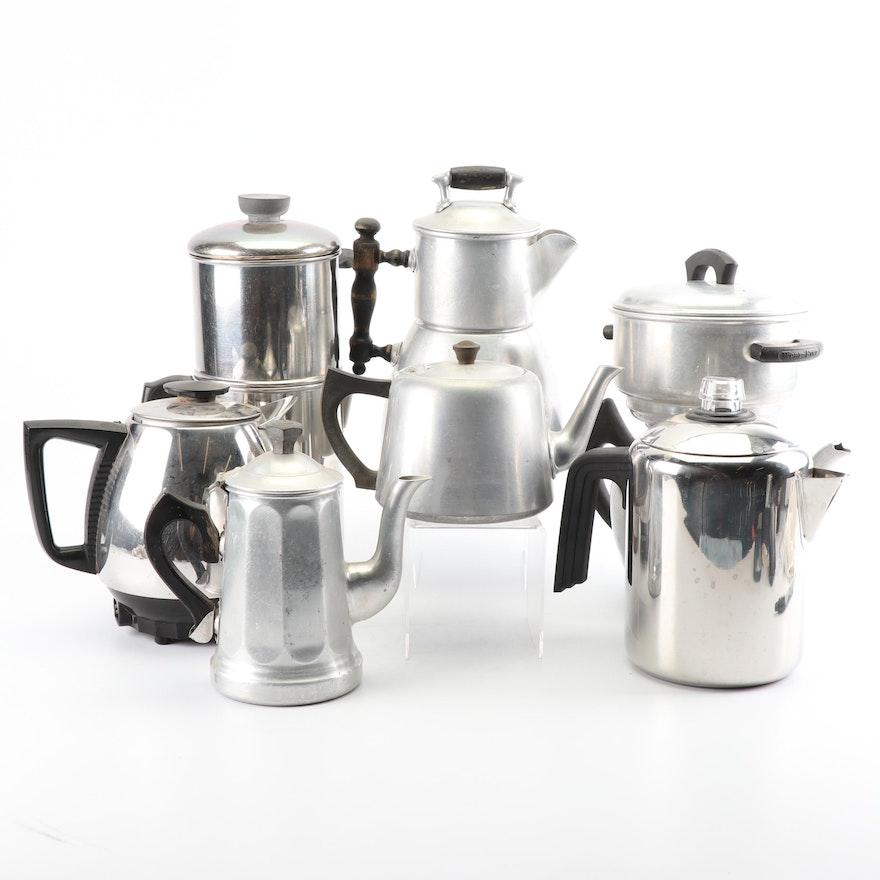 Vintage Coffee Pots And Percolators Including Revere Ware
