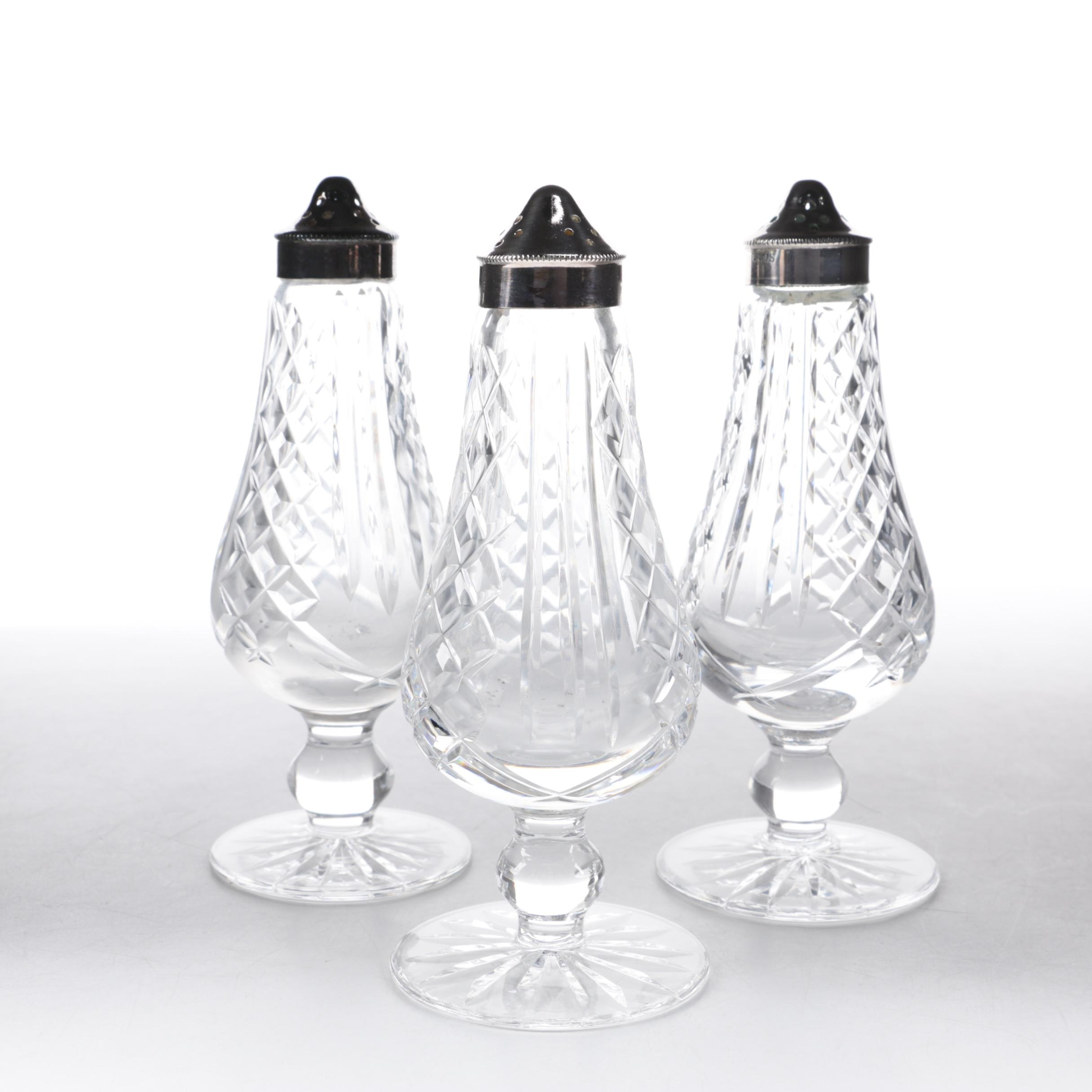 "Vintage Waterford Crystal ""Glengarriff"" Footed Shakers with Silver-Plated Caps"