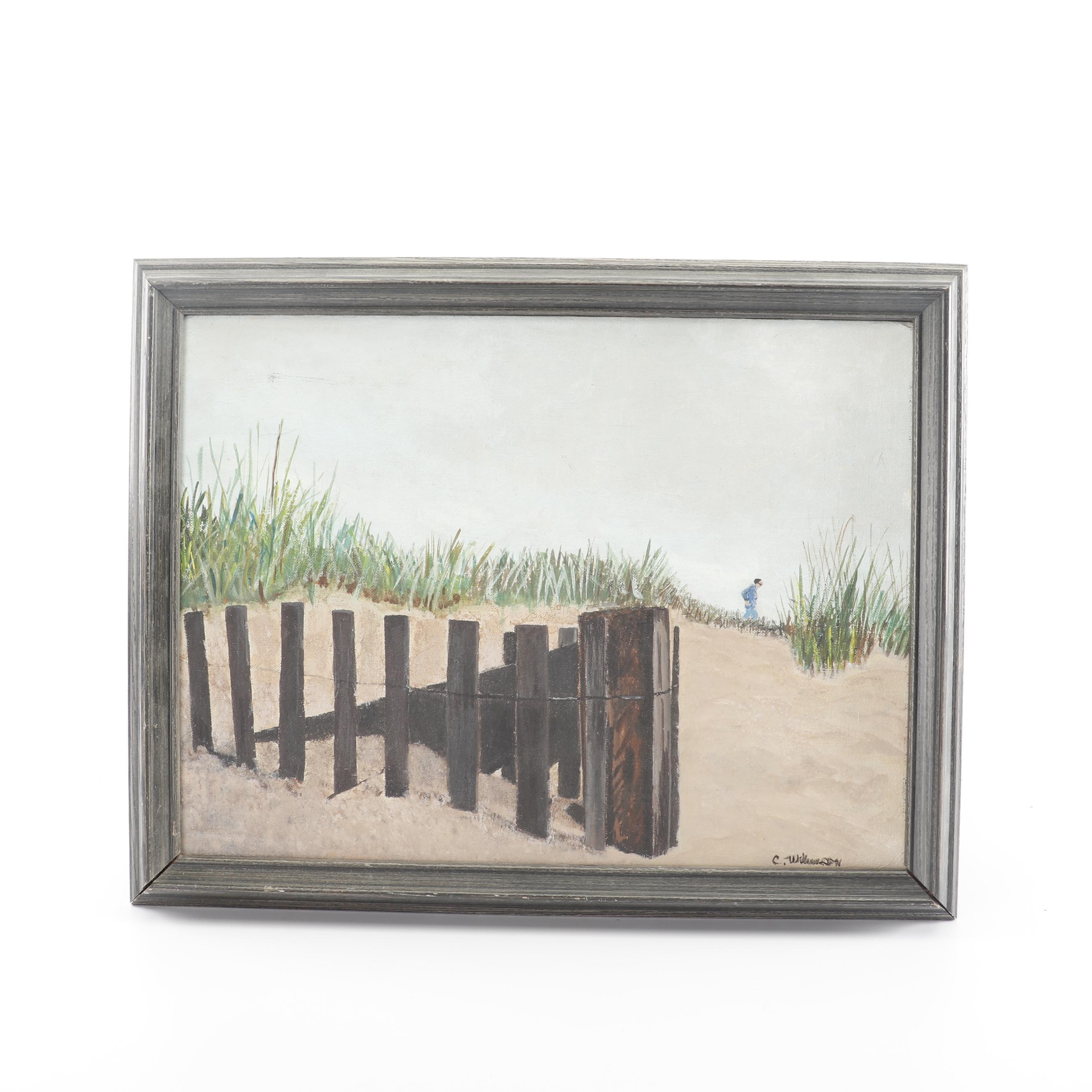 C. Wilkenson Beach Scene Oil Painting