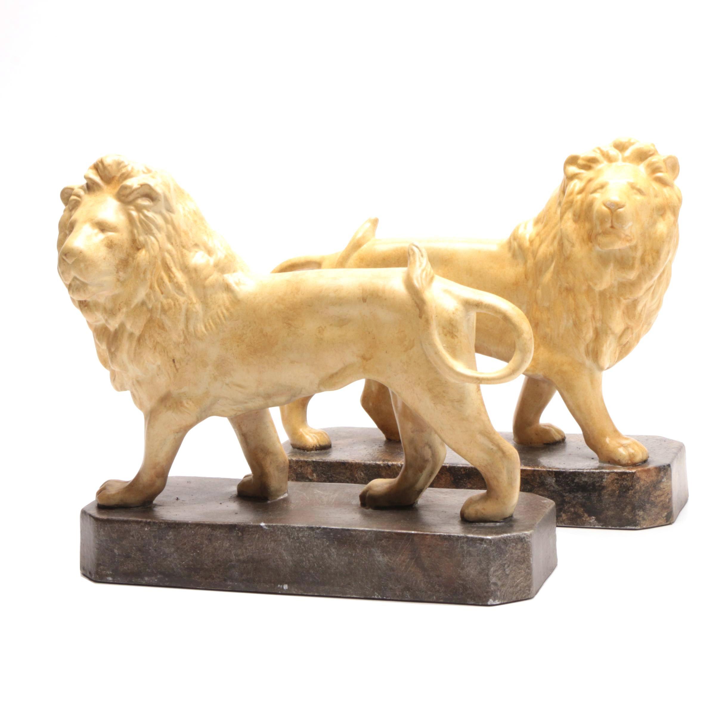 Cast Lions on Plinth Base