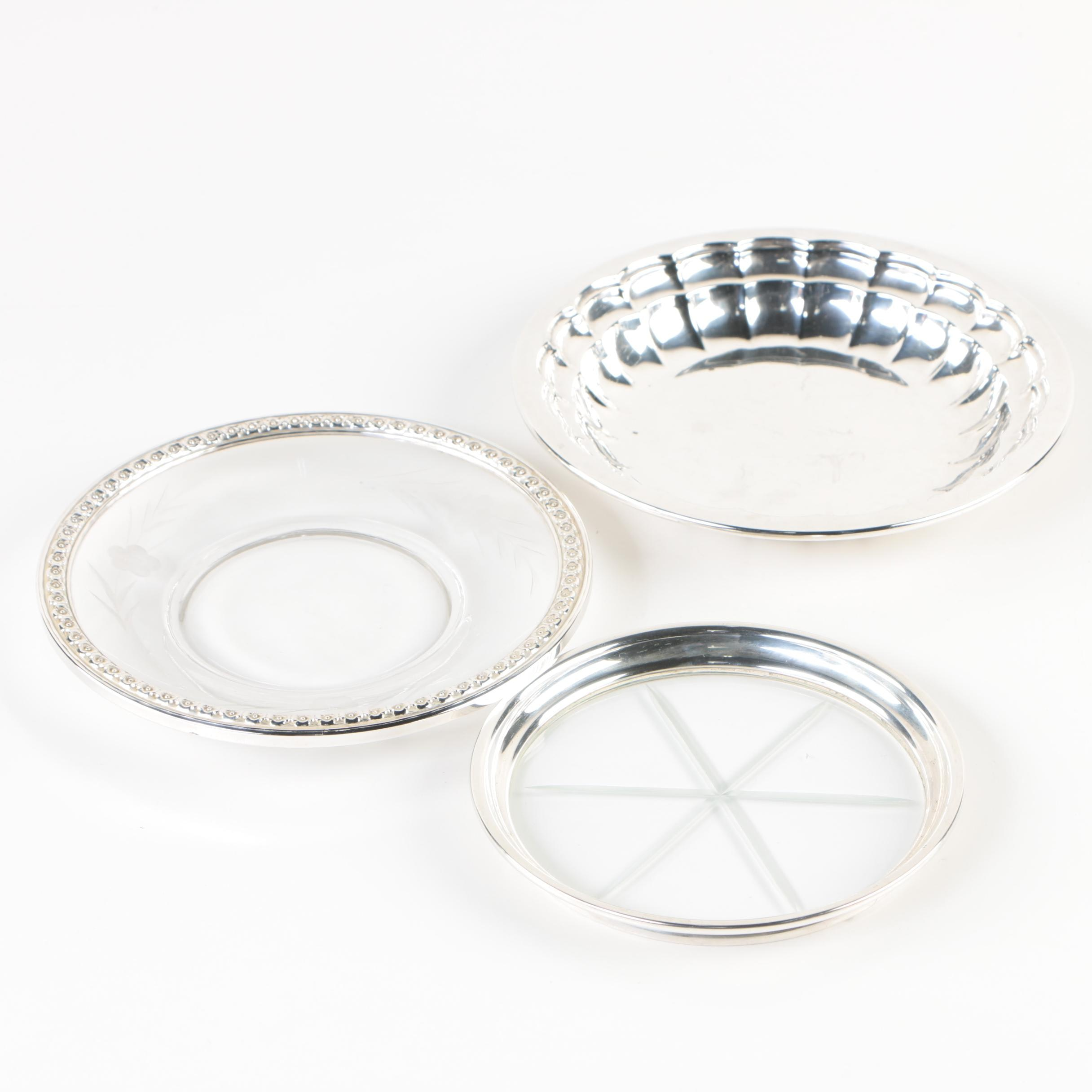 Frank W. Smith Sterling Bon Bon Bowl with Sterling Rimmed Dish and Coaster