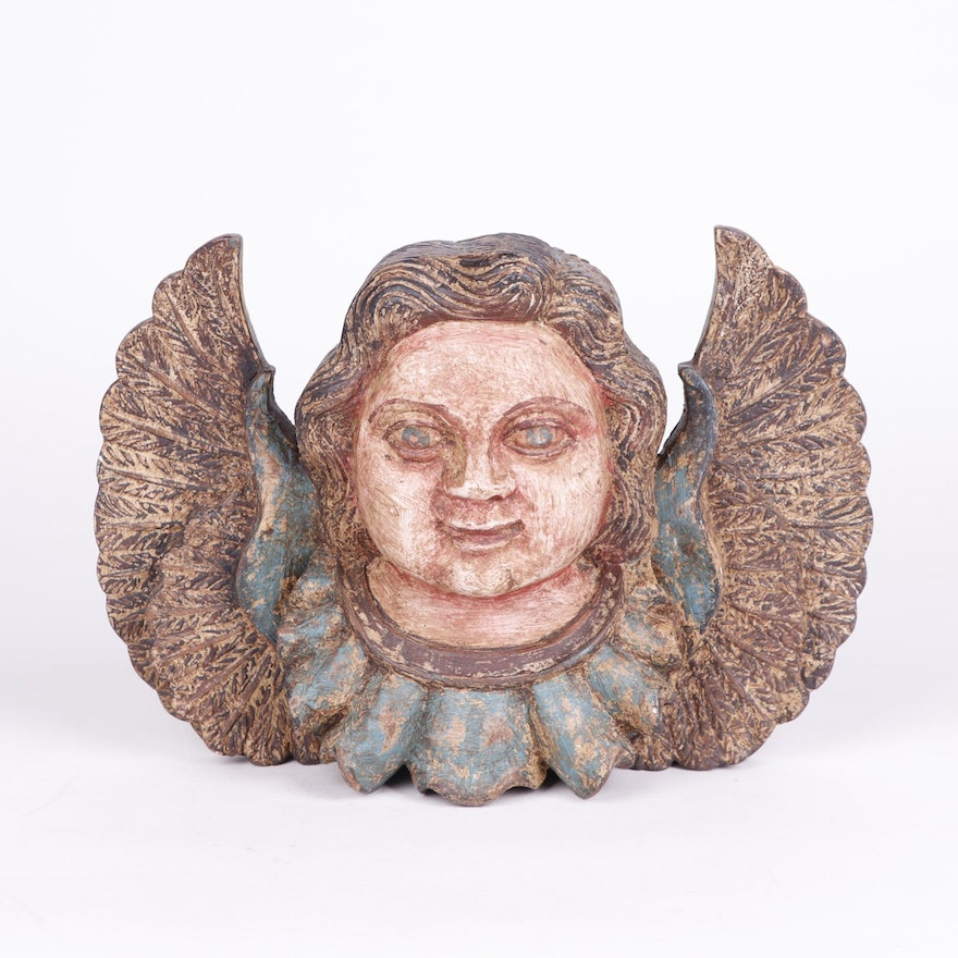 Folk Art Style Carved Wooden Angel Wall Hanging