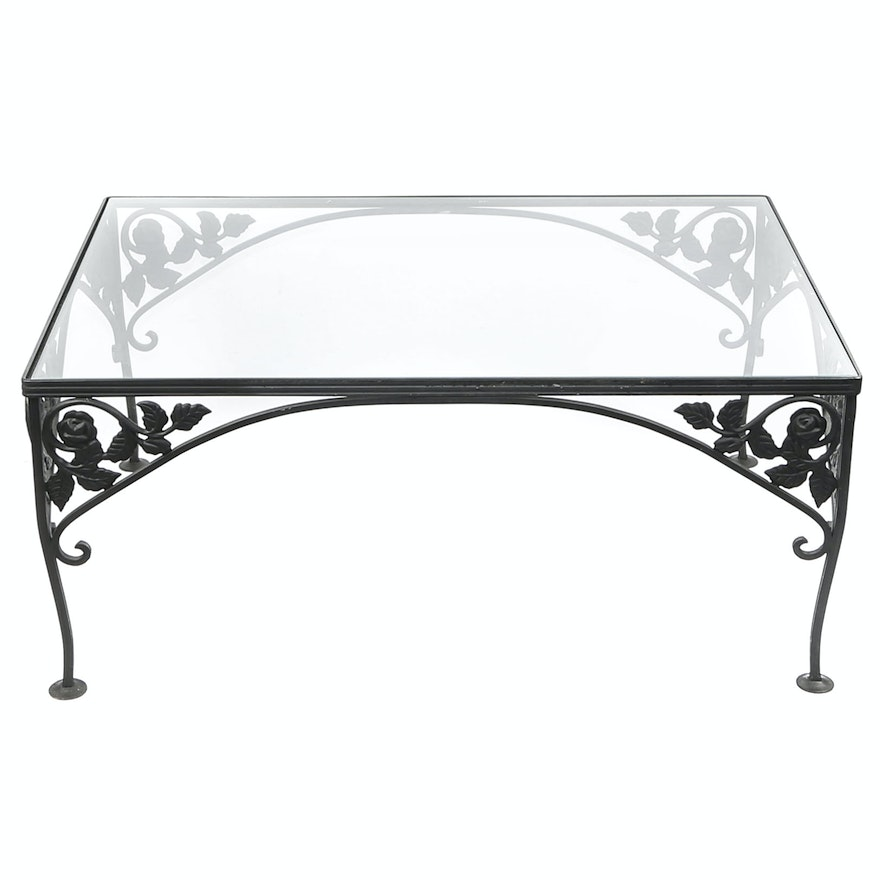 Wrought Iron And Glass Coffee Table By Woodard American 1950 S