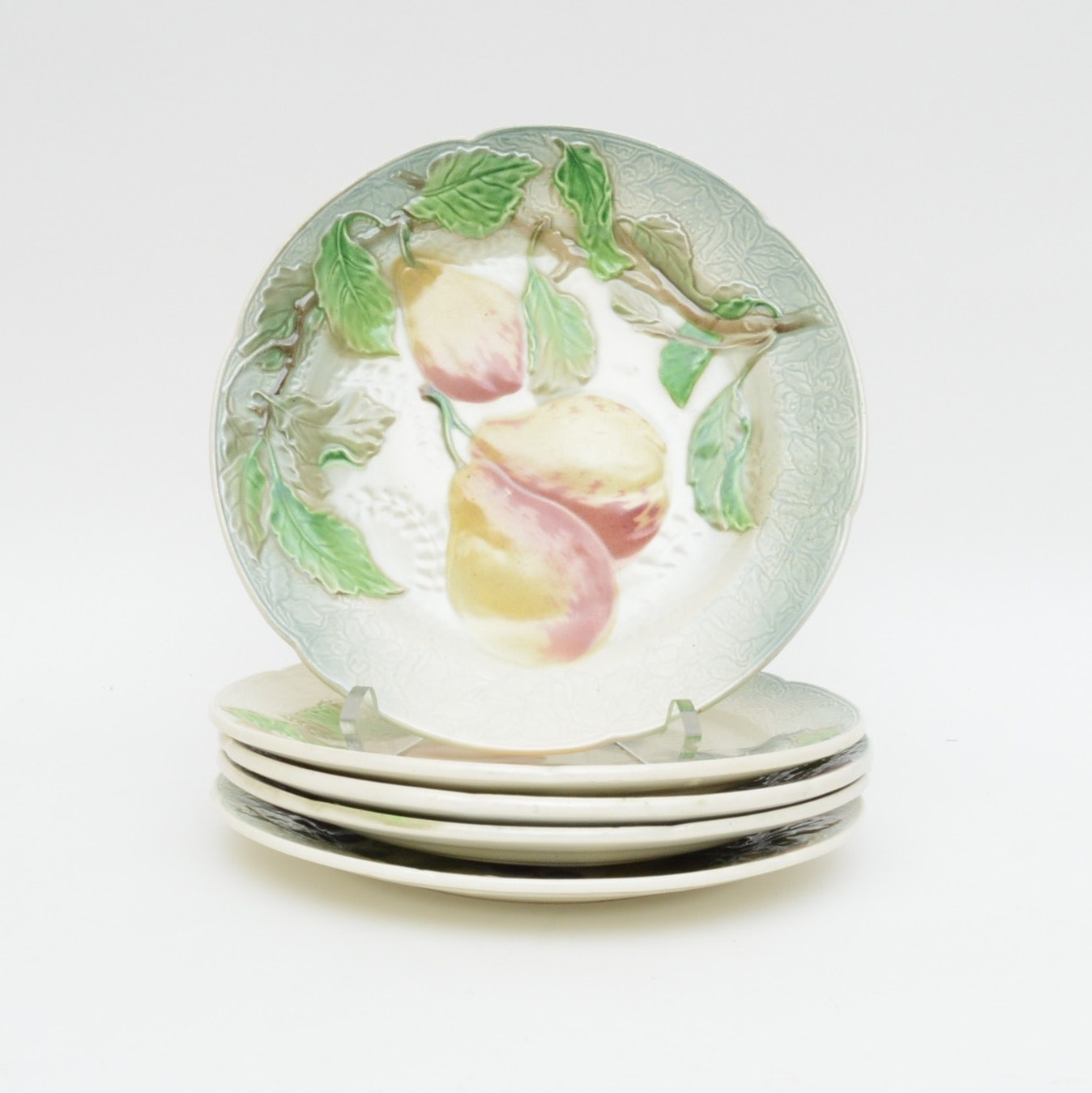 Hand-Painted K&C Clement of France Earthenware Salad Plates