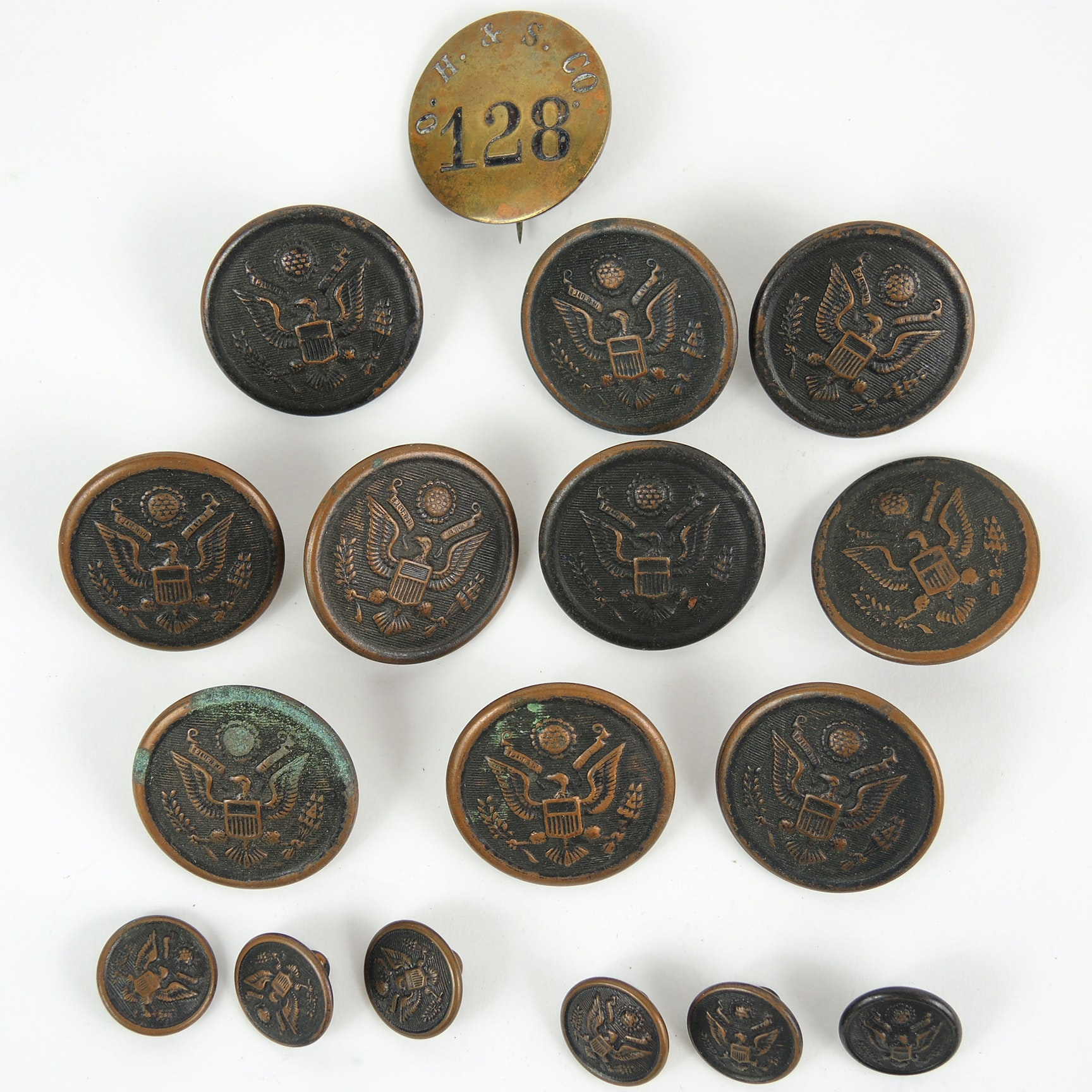 """""""U.S. Great Seal"""" Military Uniform Buttons and Occupational Service Badge"""