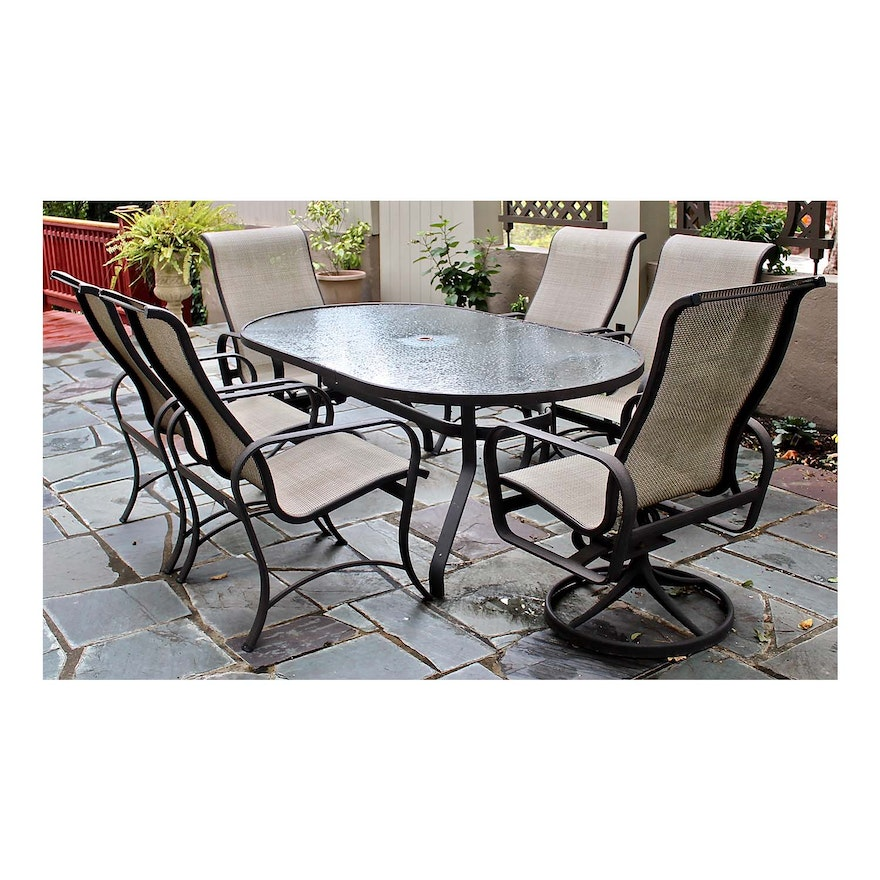 Outdoor Dining Set By Tropitone And Patio Umbrella With Stand Ebth