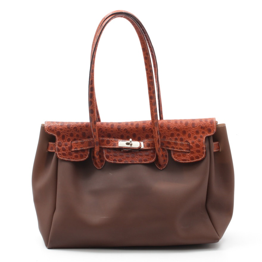 I Santi Alligator Embossed Leather And Vinyl Satchel Made In Italy
