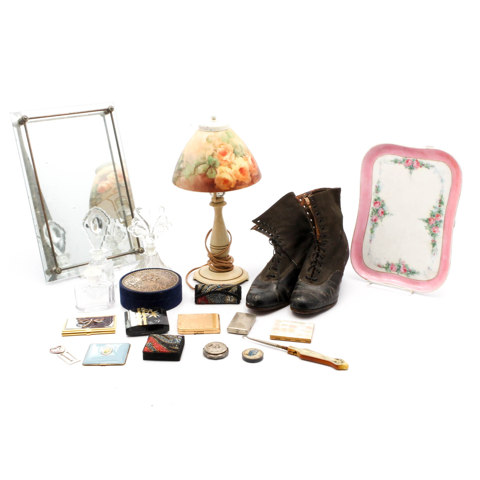 Boudoir Lamp, Vanity Trays, Perfume Bottles and Compacts