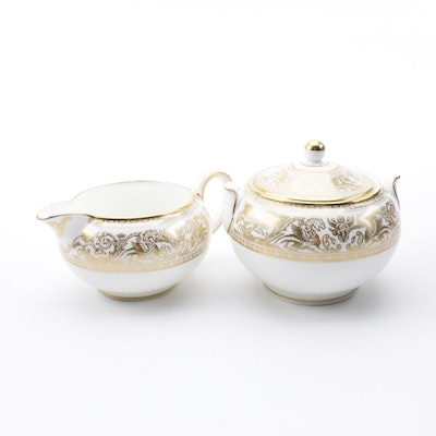 "Vintage Wedgwood ""Gold Florentine"" Bone China Creamer and Lidded Sugar Bowl"