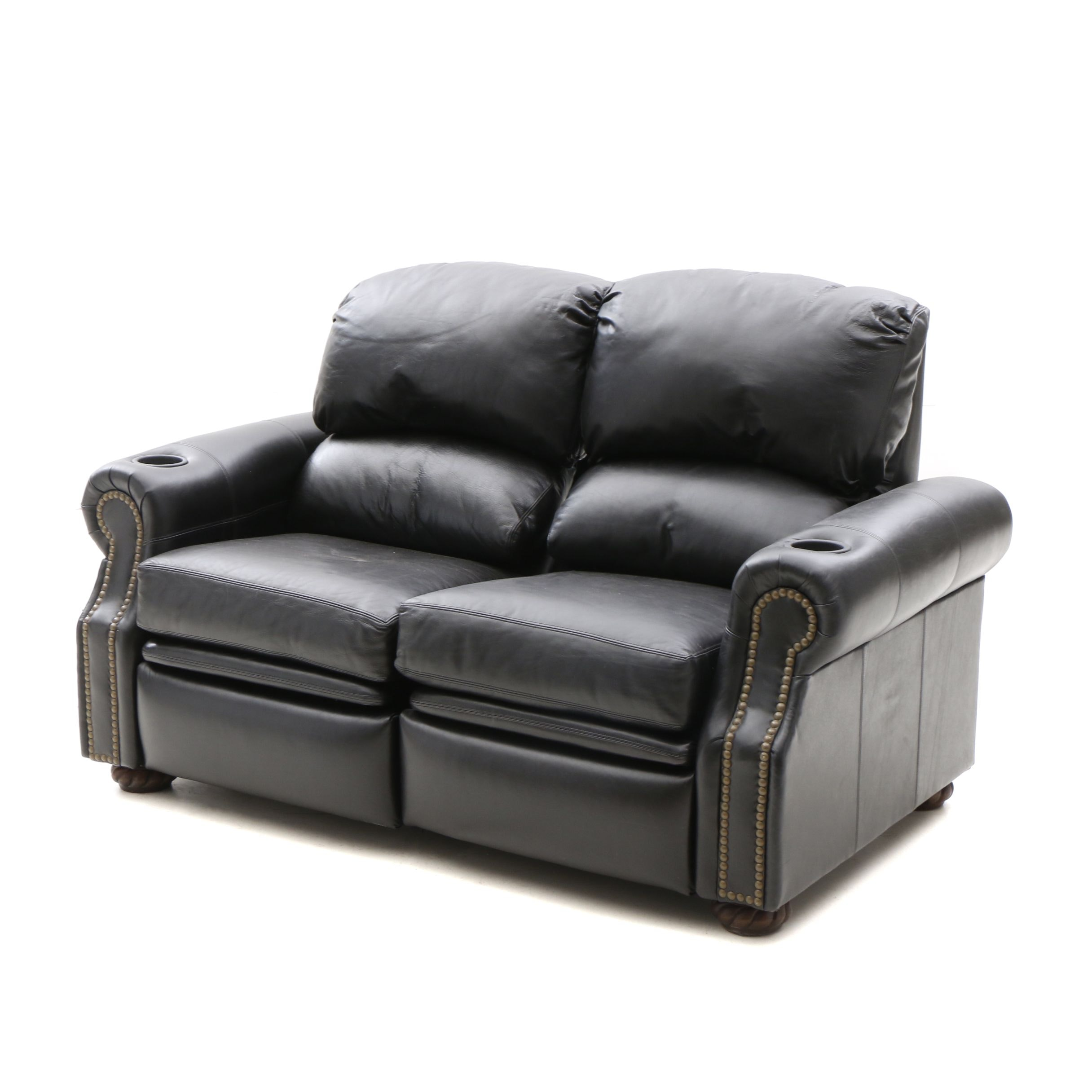 Drexel Heritage Black Leather Recliner Loveseat ...