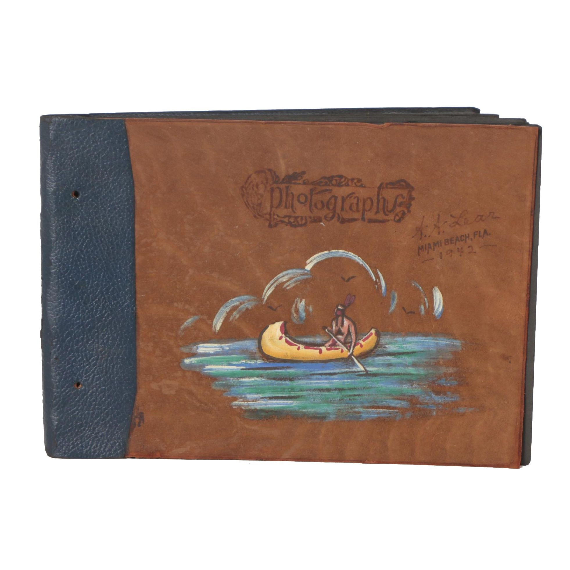 1942 A. A. Lear Hand Painted Leather Bound Photograph Album