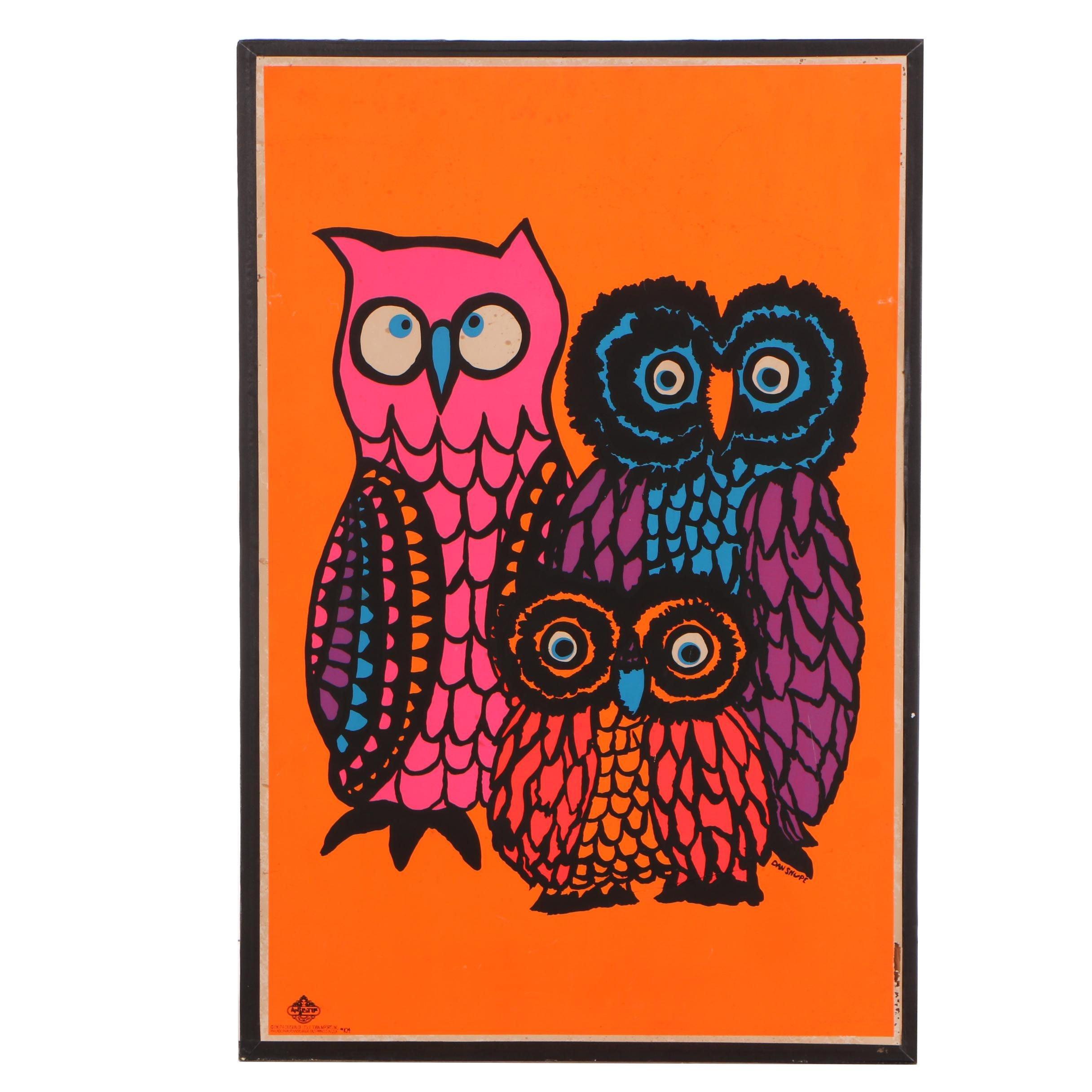 """Dan Shupe 1967 Serigraph """"Owls"""""""