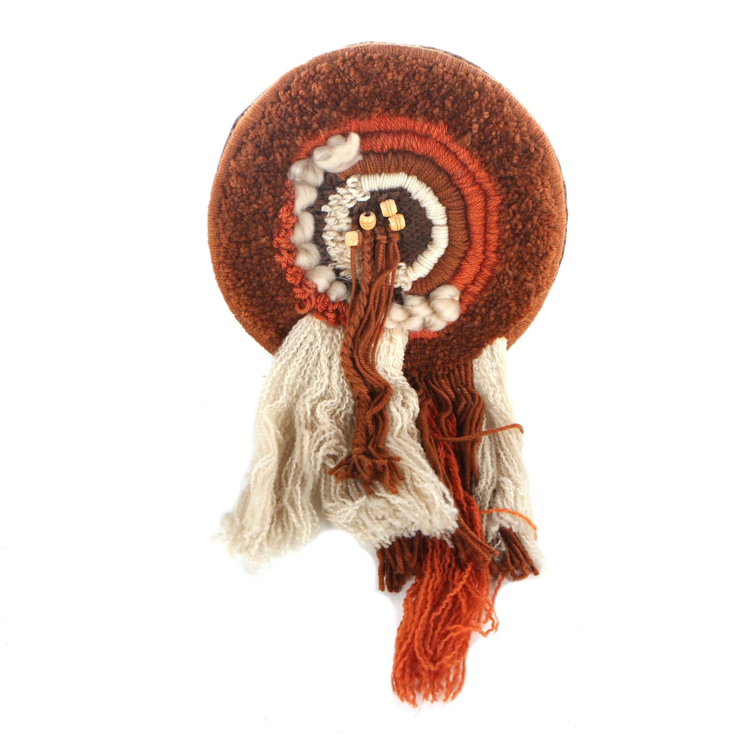 Handmade Fiber Art Wall Hanging with Wool and other Yarns