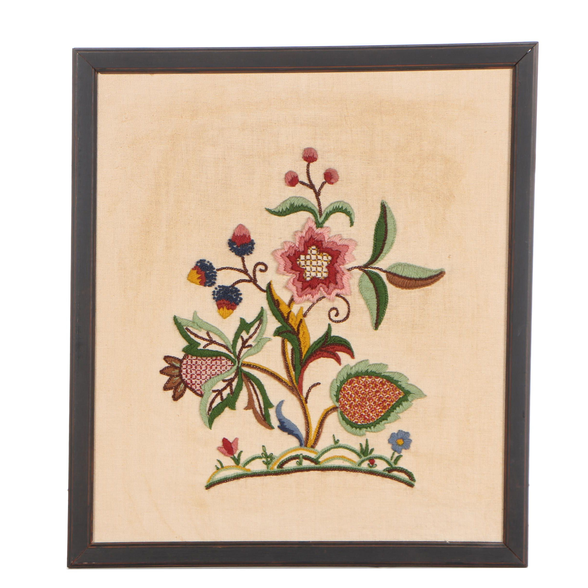 Crewel Work Floral Wall Hanging
