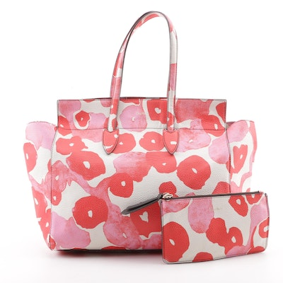 4fe5c6098012 Max Mara Pebbled Leather Watercolor Print Tote Bag with Pouch