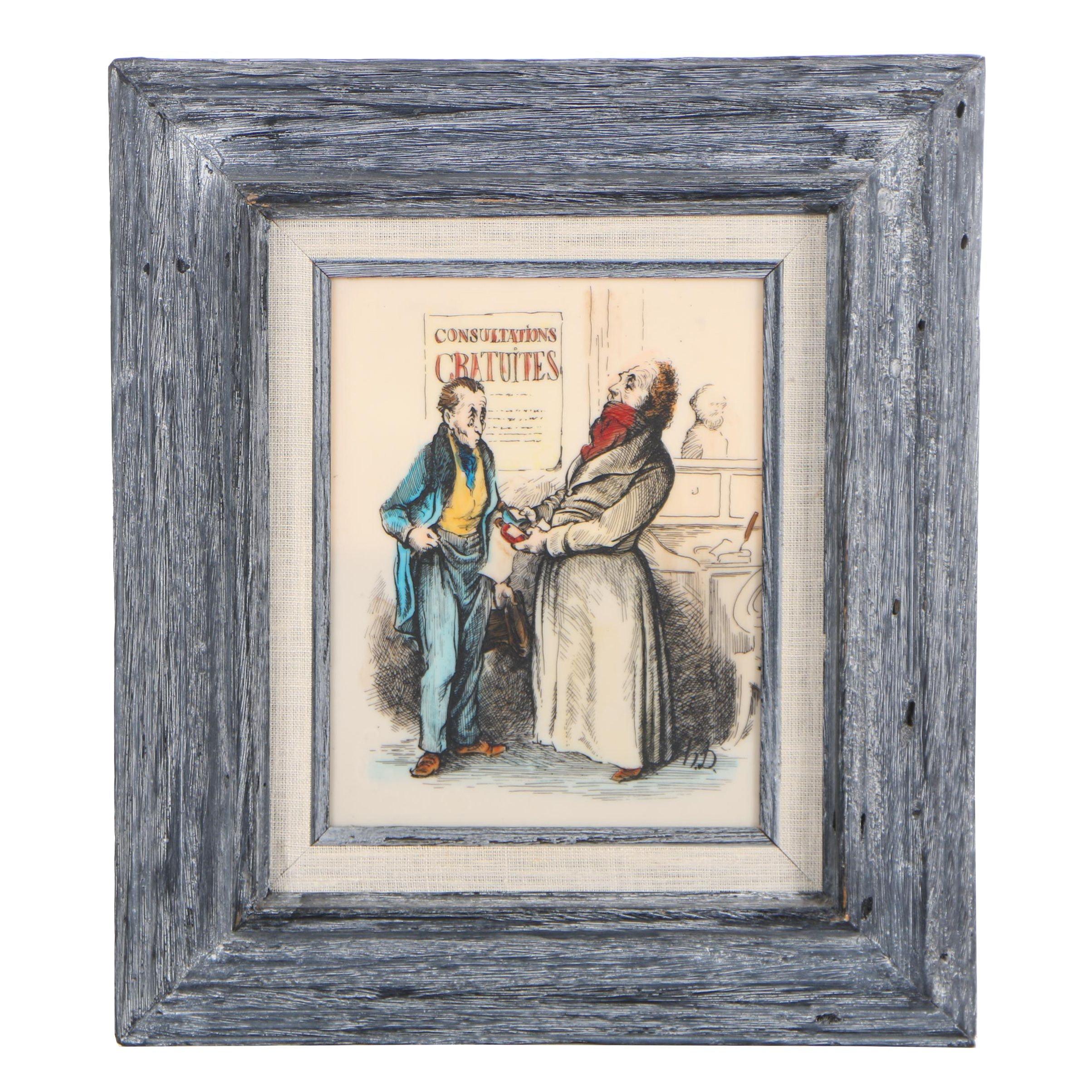 """Etched Enamel after Honoré Daumier """"Robert Macaire Médecin"""""""