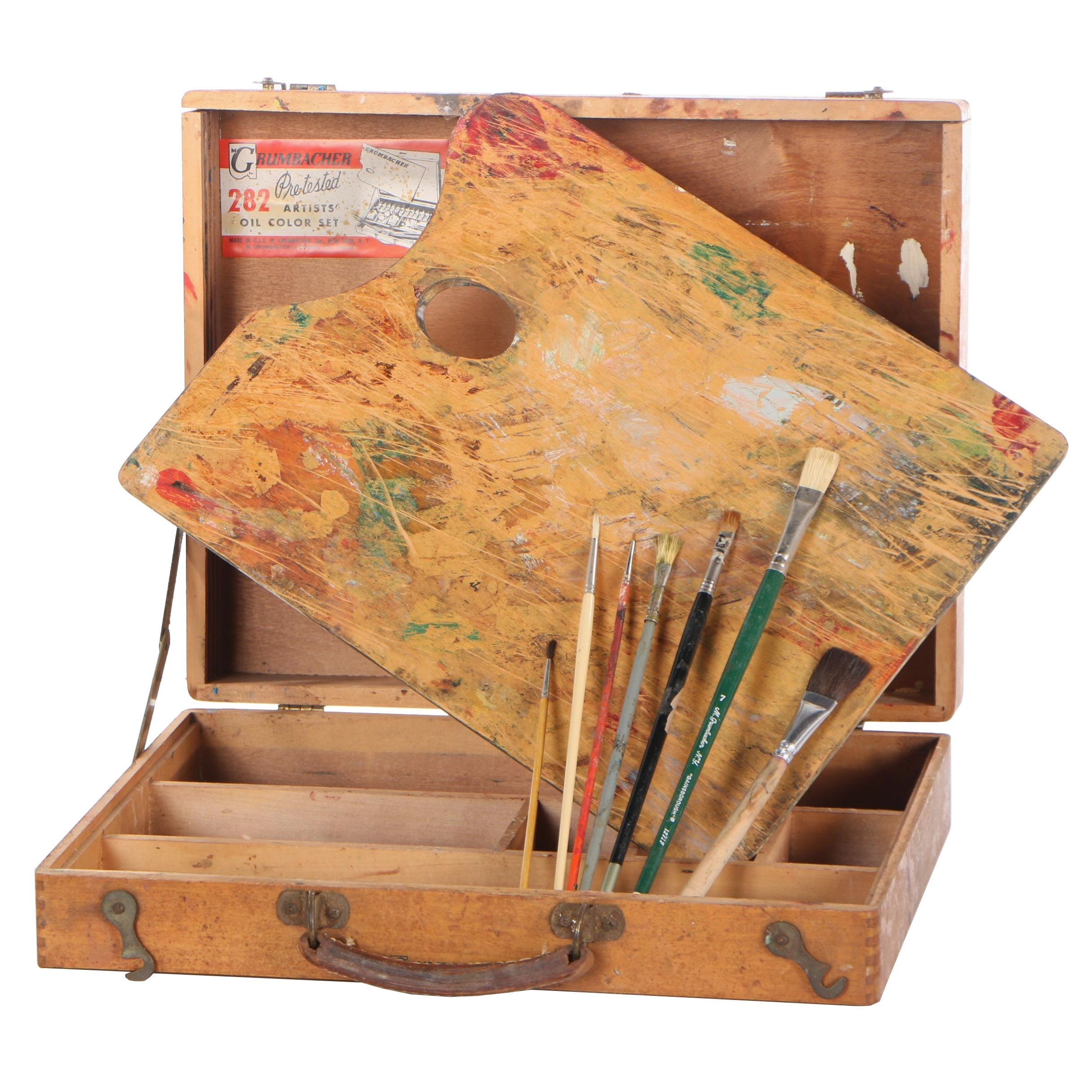 Vintage Grumbacher Artist Paint Box, Brushes and Palette