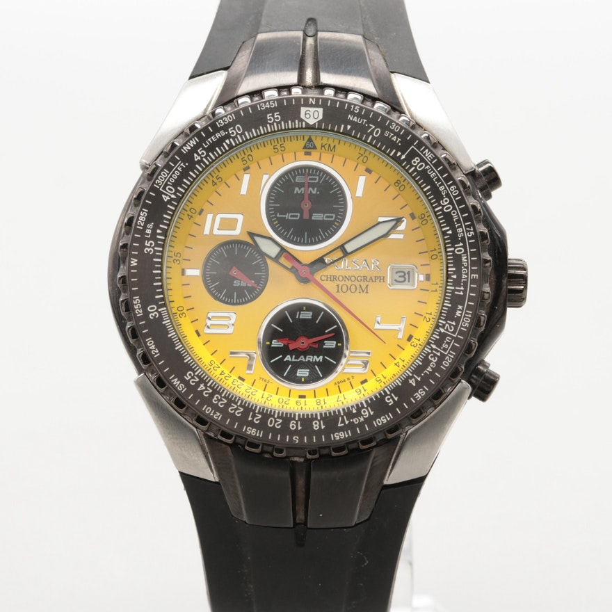 Pulsar Stainless Steel Chrono Alarm Date Wristwatch