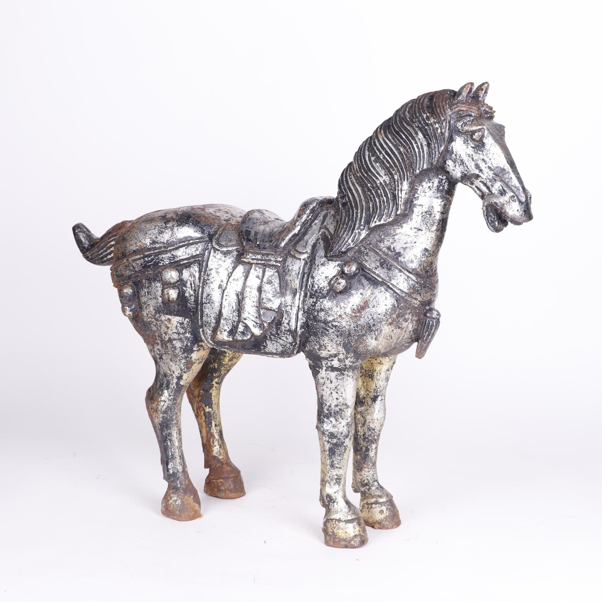 Chinese Tang Style Painted Metal Horse Sculpture