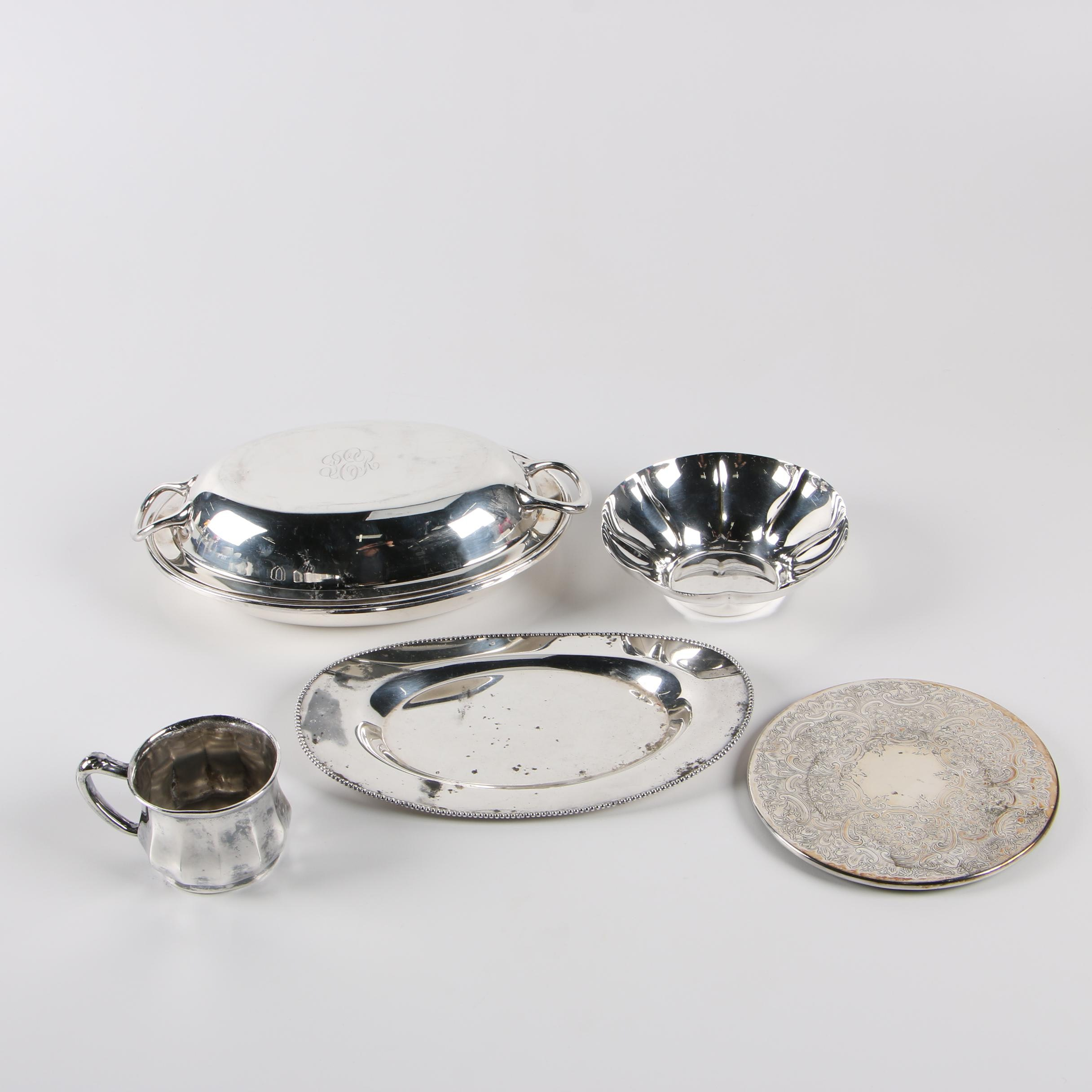 Reed & Barton Covered Vegetable Dish with Other Silver Plate Serveware
