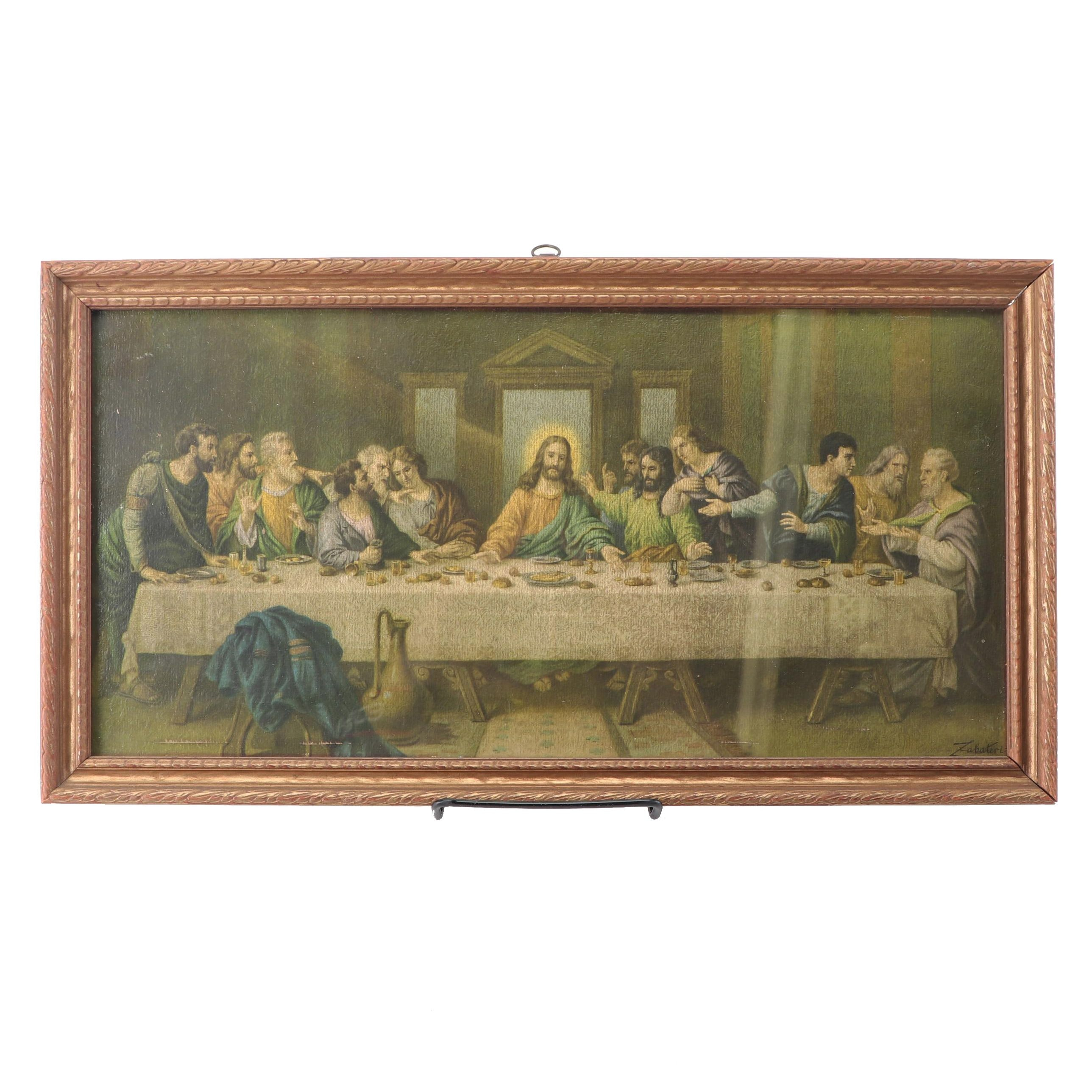 """Offset Lithograph """"The Last Supper"""" after H. Zabateri"""