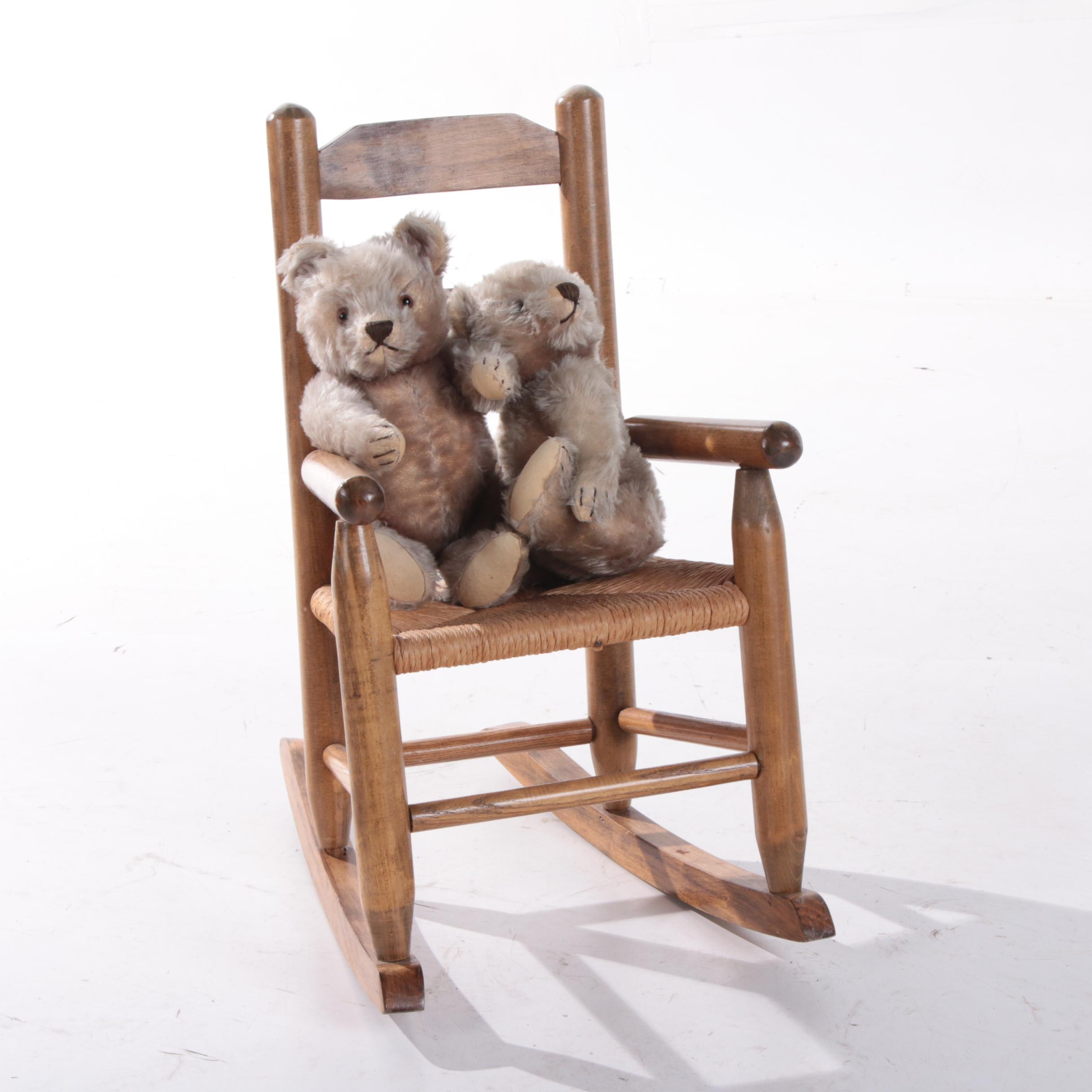 Oak Child Size Rocking Chair, with Steiff Bears, 20th Cent