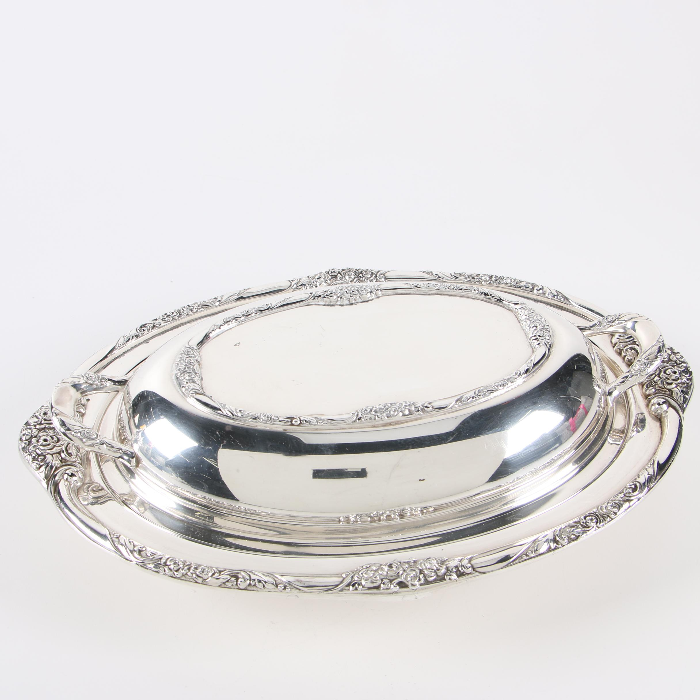 """Oneida """"Ballad-Country Lane"""" Silver Plate Covered Double Vegetable Dish"""