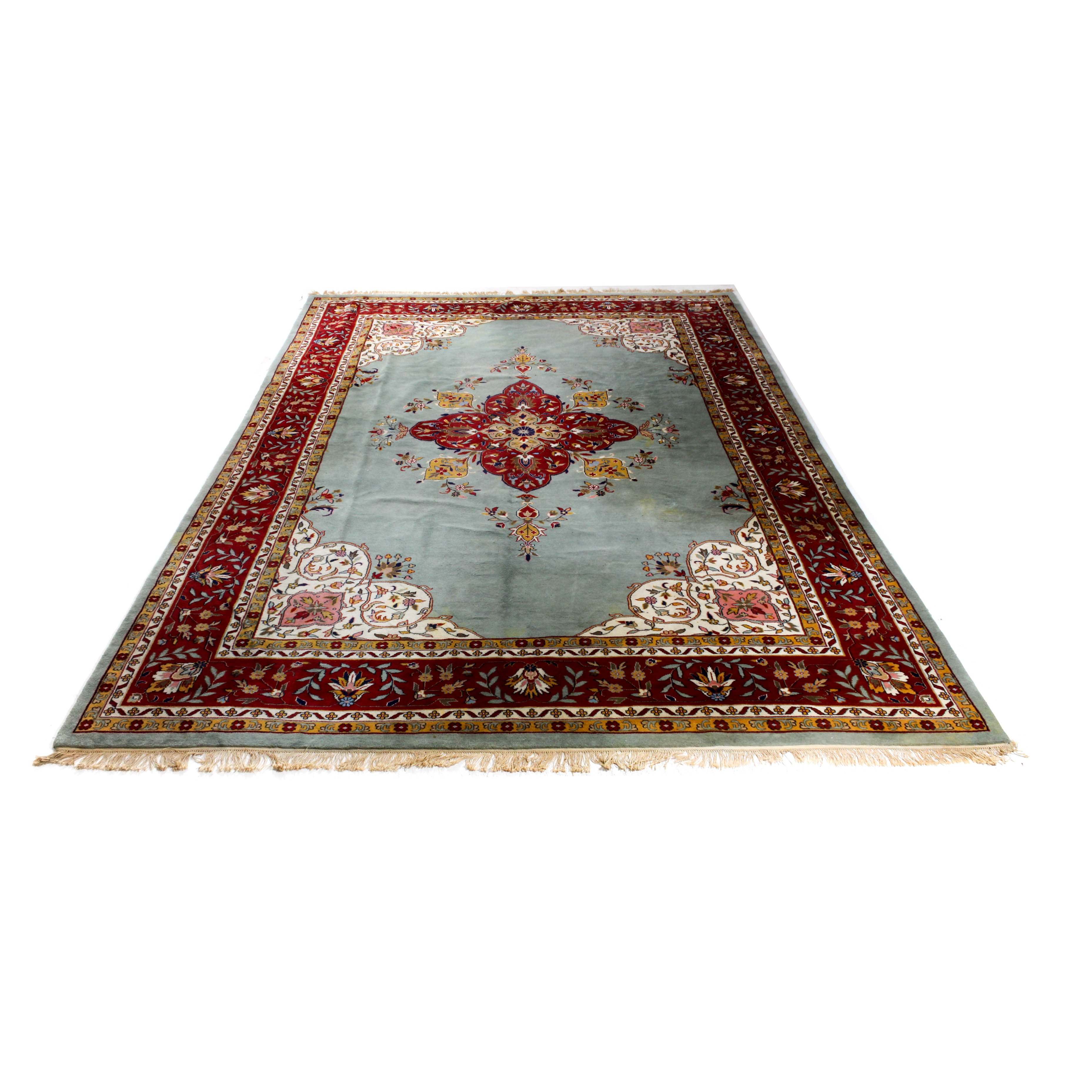 Old Hand-Knotted Indo-Persian Kerman Rug