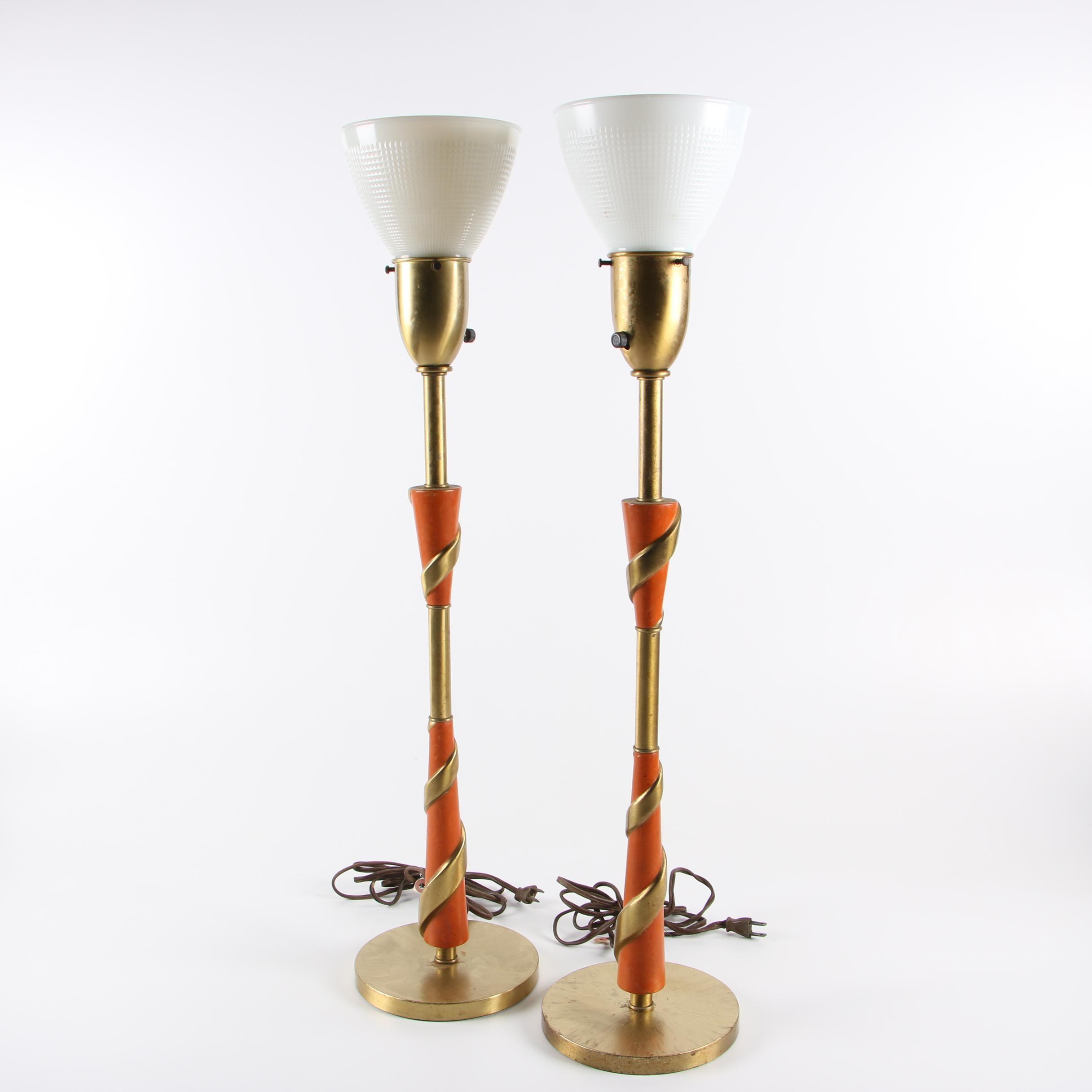 Rembrandt Metallic Twist Torchiere Buffet Lamps