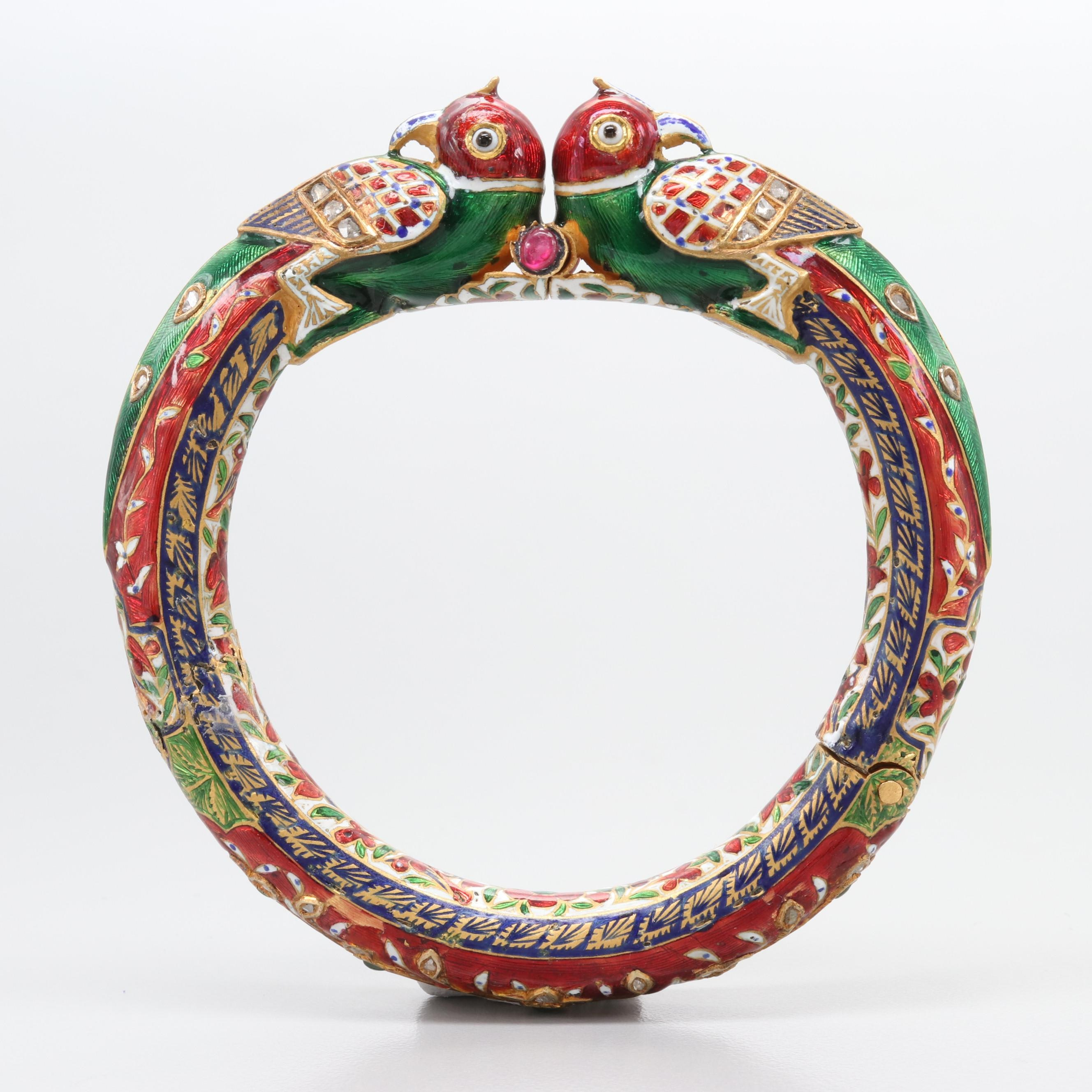 Vintage Mughal Enamel Champlevé Diamond, Emerald and Ruby Enamel Hinged Bracelet