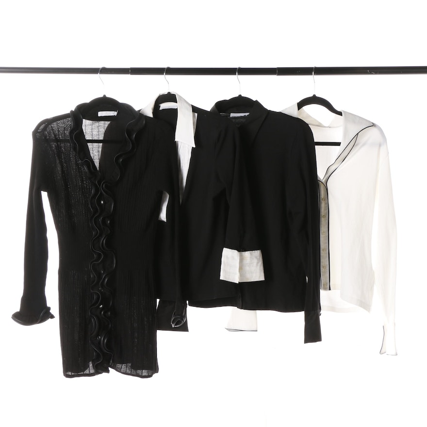 bd513830233ef Women s Anne Fontaine Black and White Tops and Cardigan   EBTH
