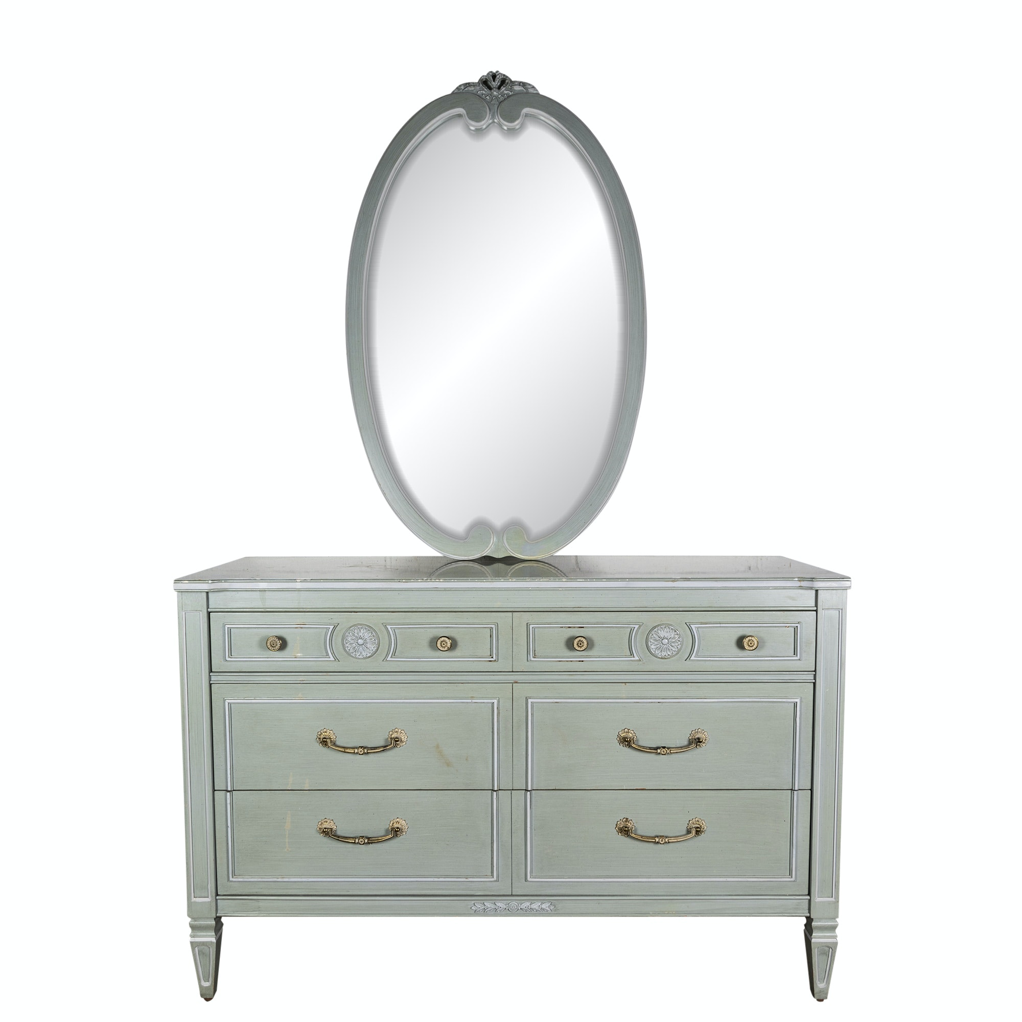 Federal Style Painted Wood Dresser and Mirror by Thomasville, Mid 20th Century