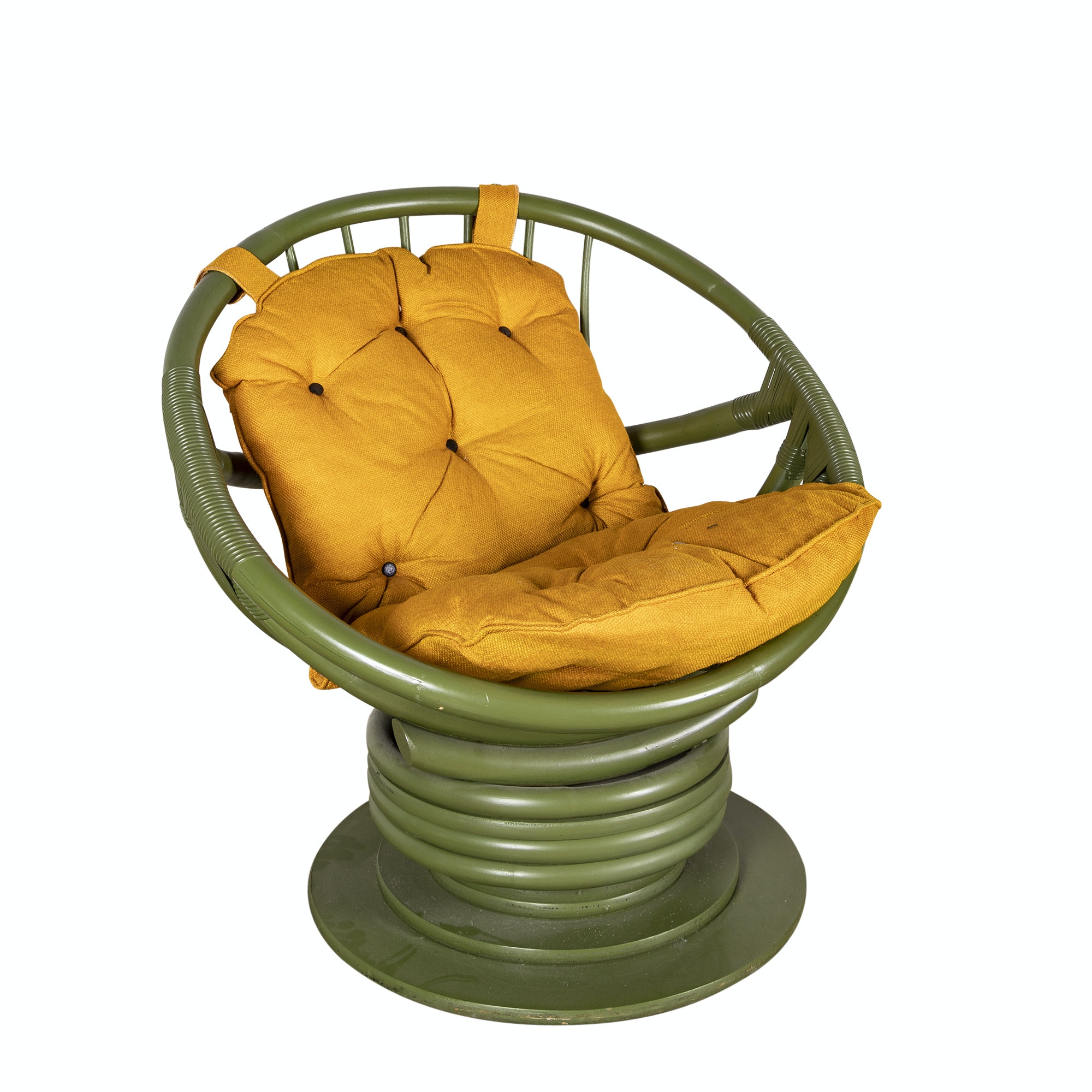 Painted Rattan Papasan Chair, 20th Century