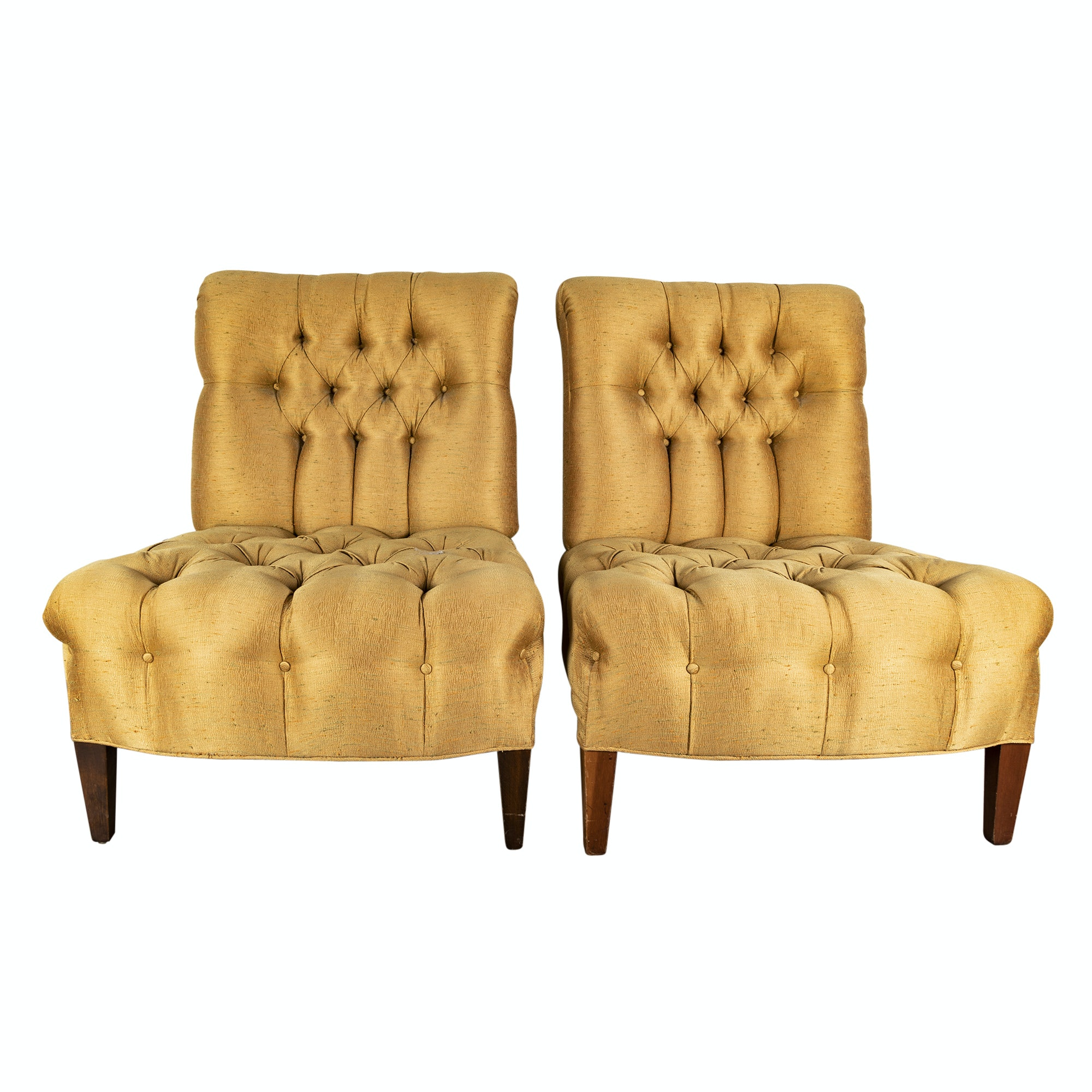 Upholstered Armless Lounge Chairs, 20th Century
