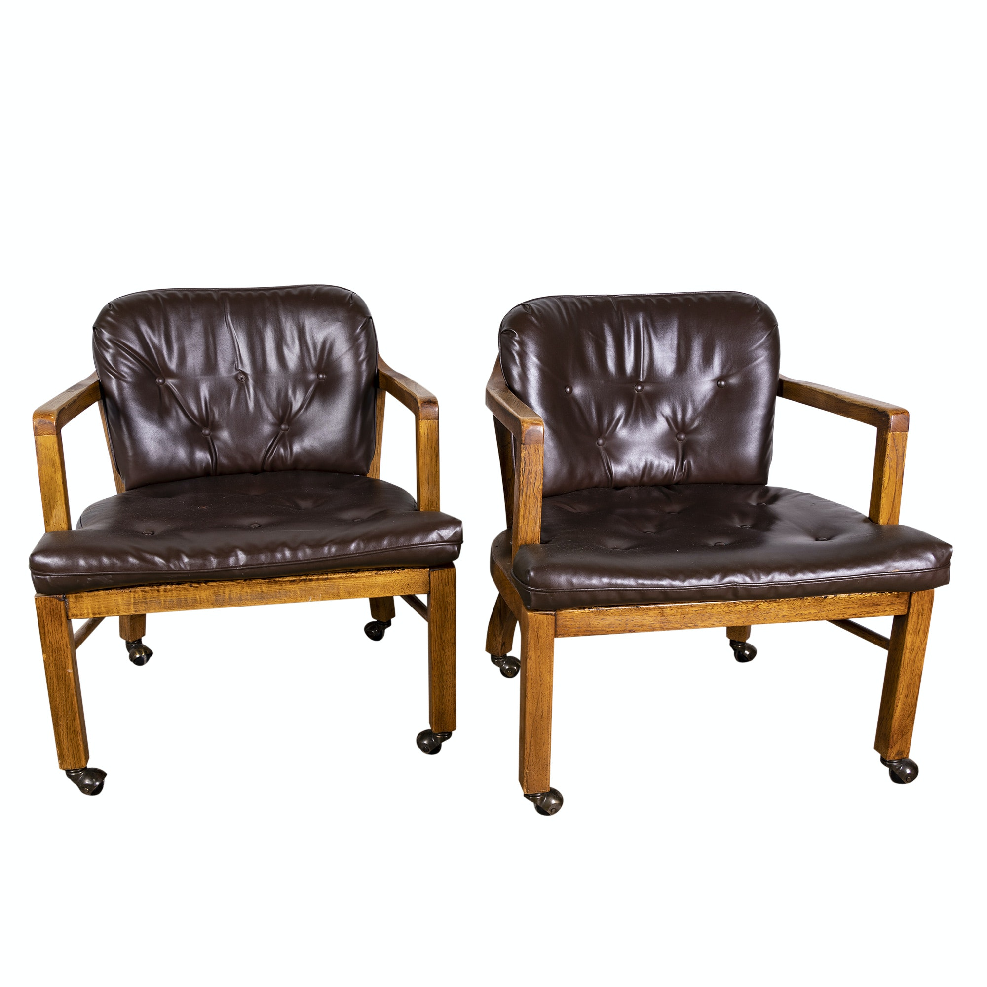 Oak Open Arm Tub Chairs on Casters, Mid-20th Century