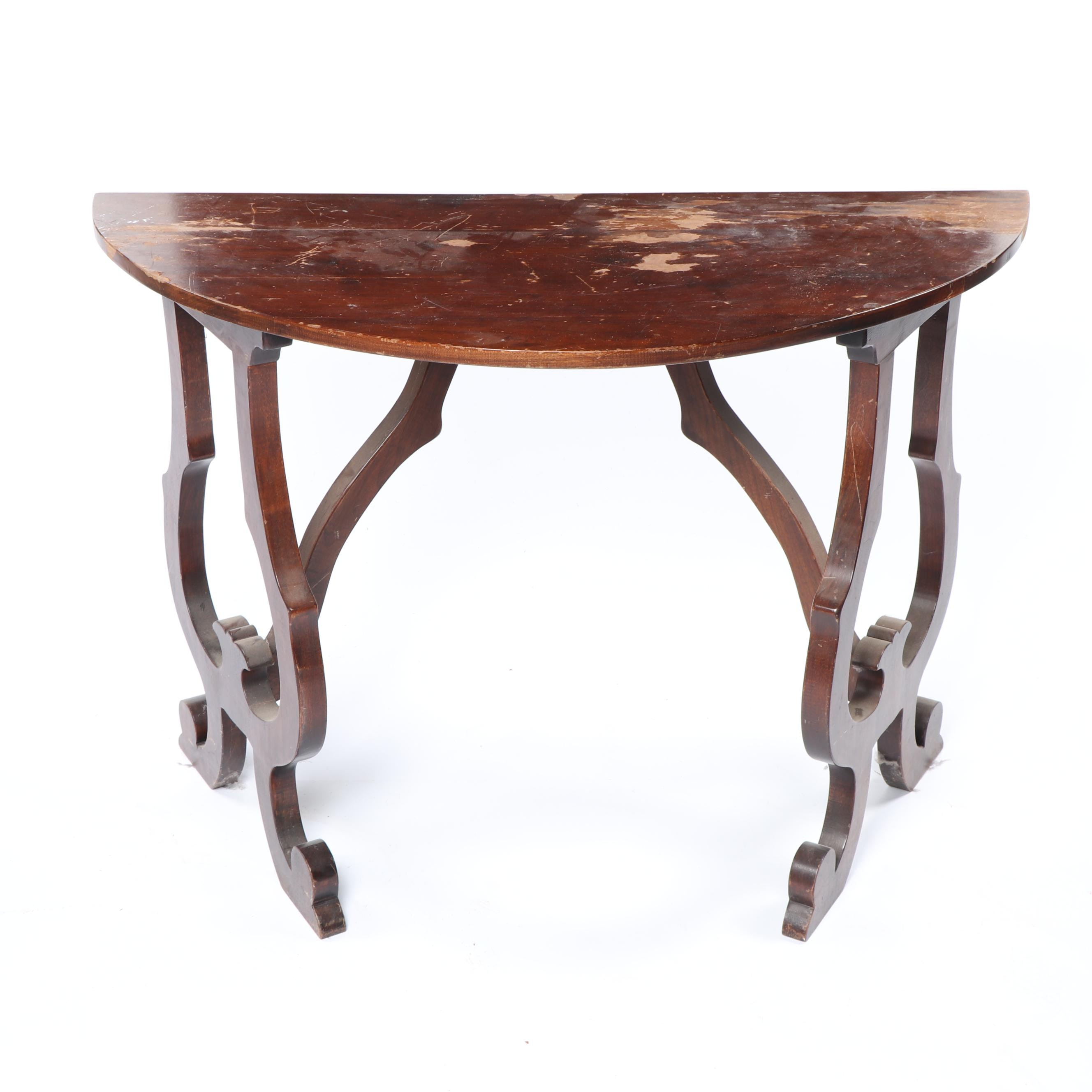 American Empire Style Walnut Console Table, Late 20th Century