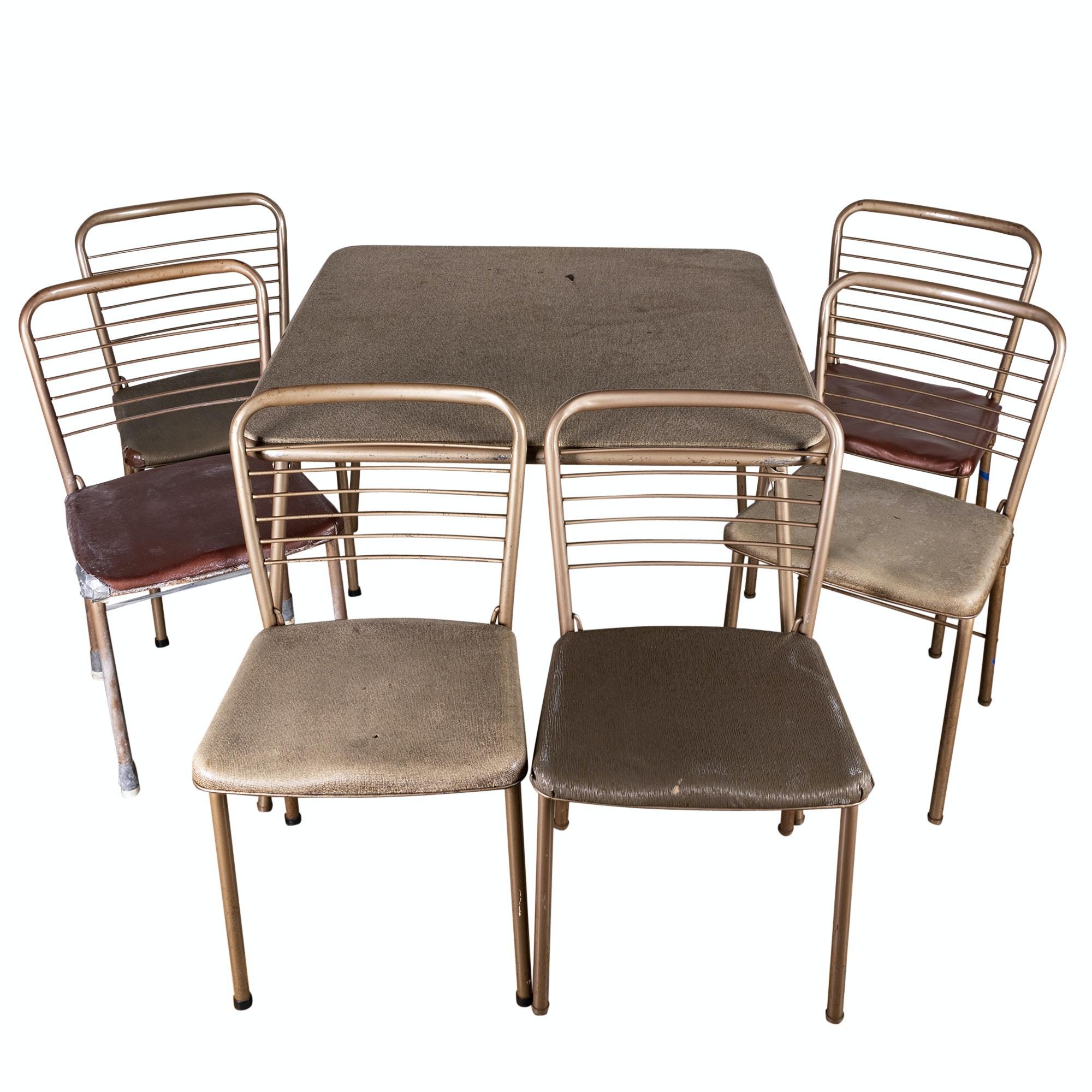 Mid Century Modern Folding Card Table and Six Chairs by Cosco, Mid-20th Century