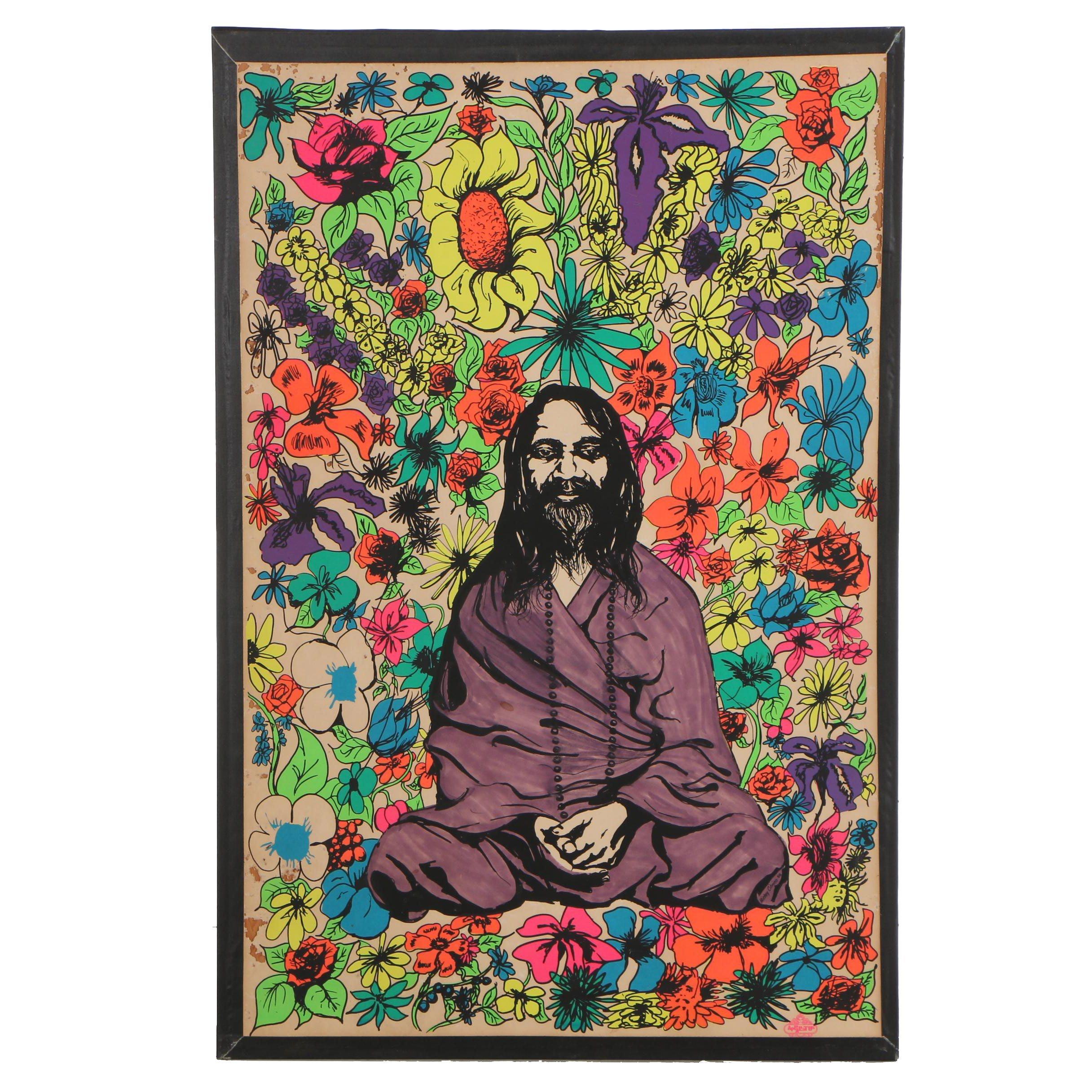"Mickey Citrino 1968 Serigraph ""Hippie & Fleurs (Khatmandou?)"""