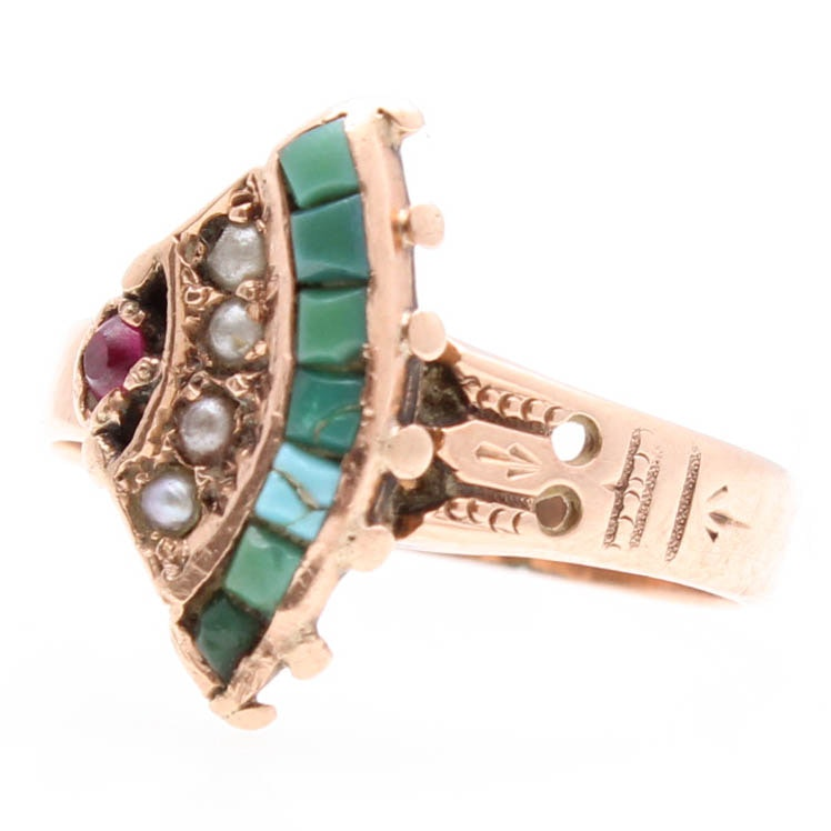 Victorian 10K Yellow Gold Turquoise, Seed Pearl, and Synthetic Ruby Ring